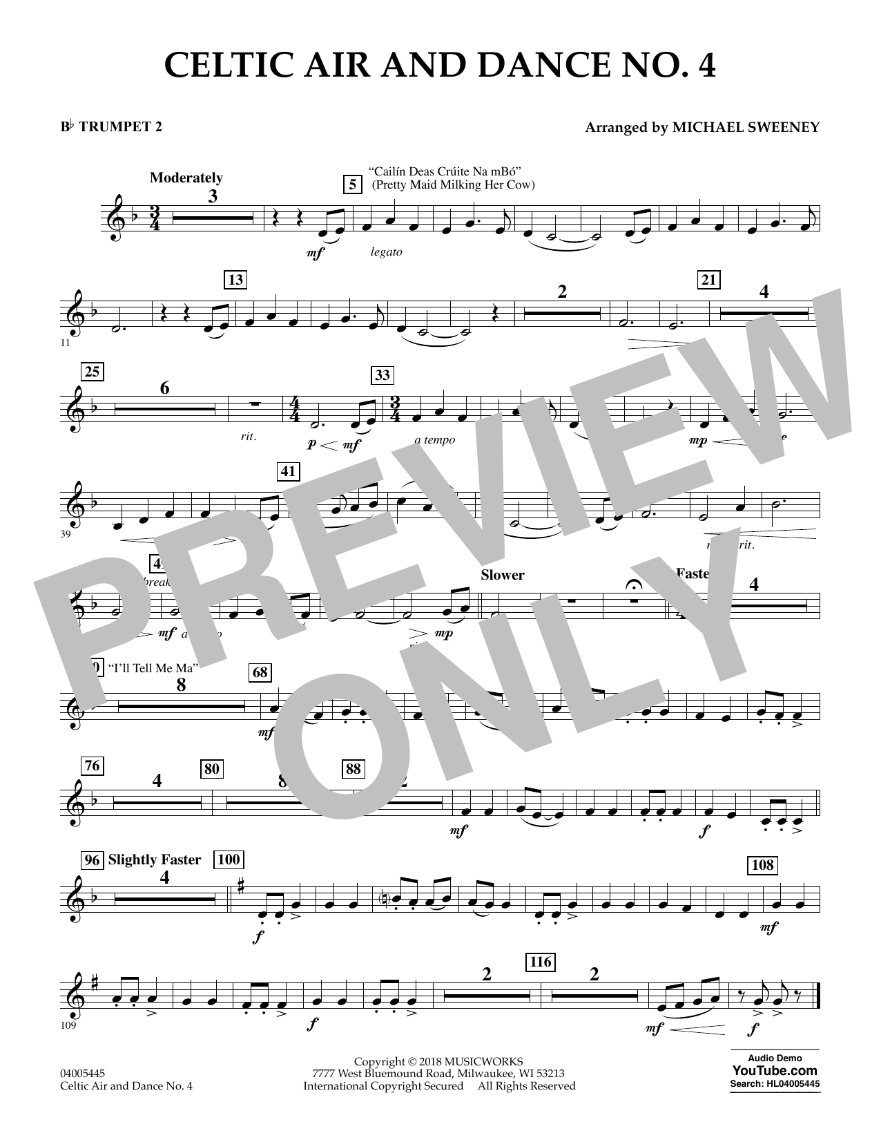 Celtic Air and Dance No. 4 - Bb Trumpet 2 (Concert Band)