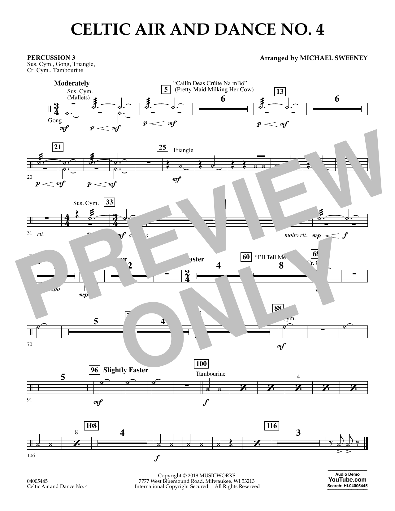 Celtic Air and Dance No. 4 - Percussion 3 (Concert Band)