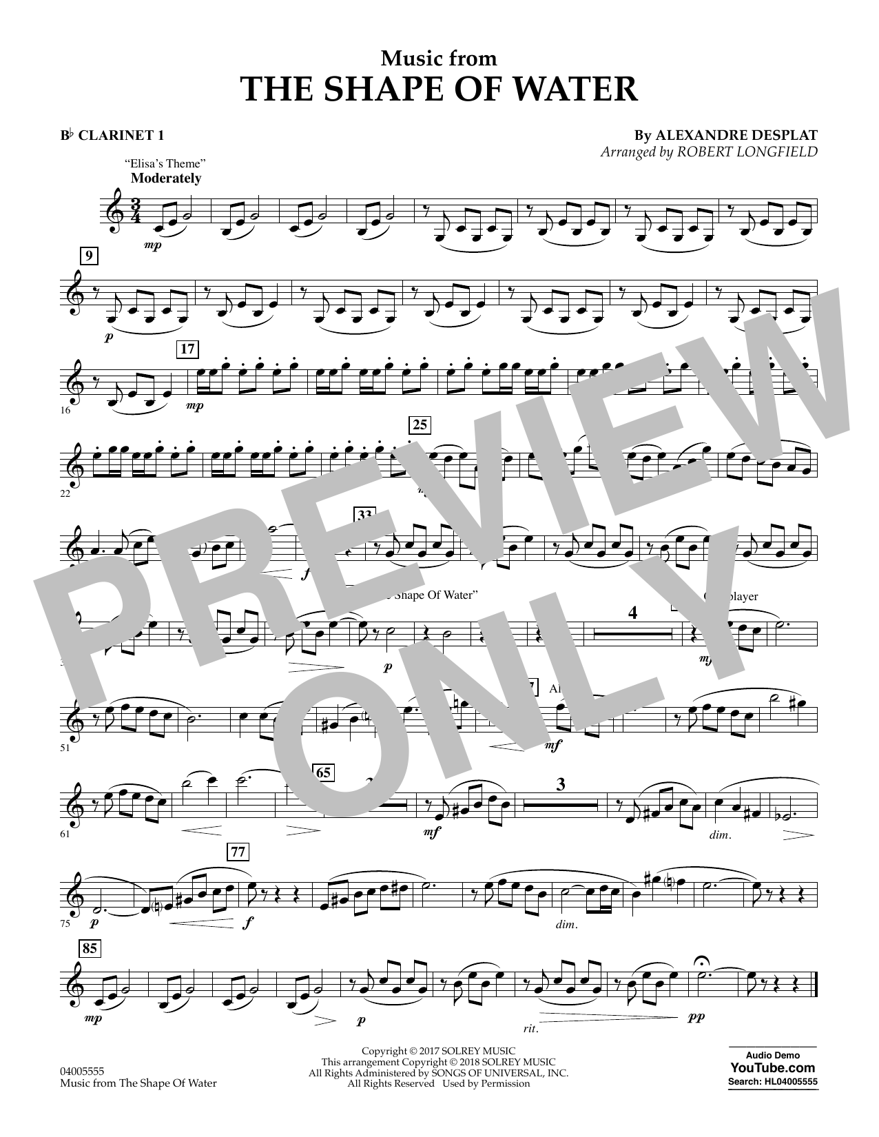 Music from The Shape of Water - Bb Clarinet 1 (Concert Band)