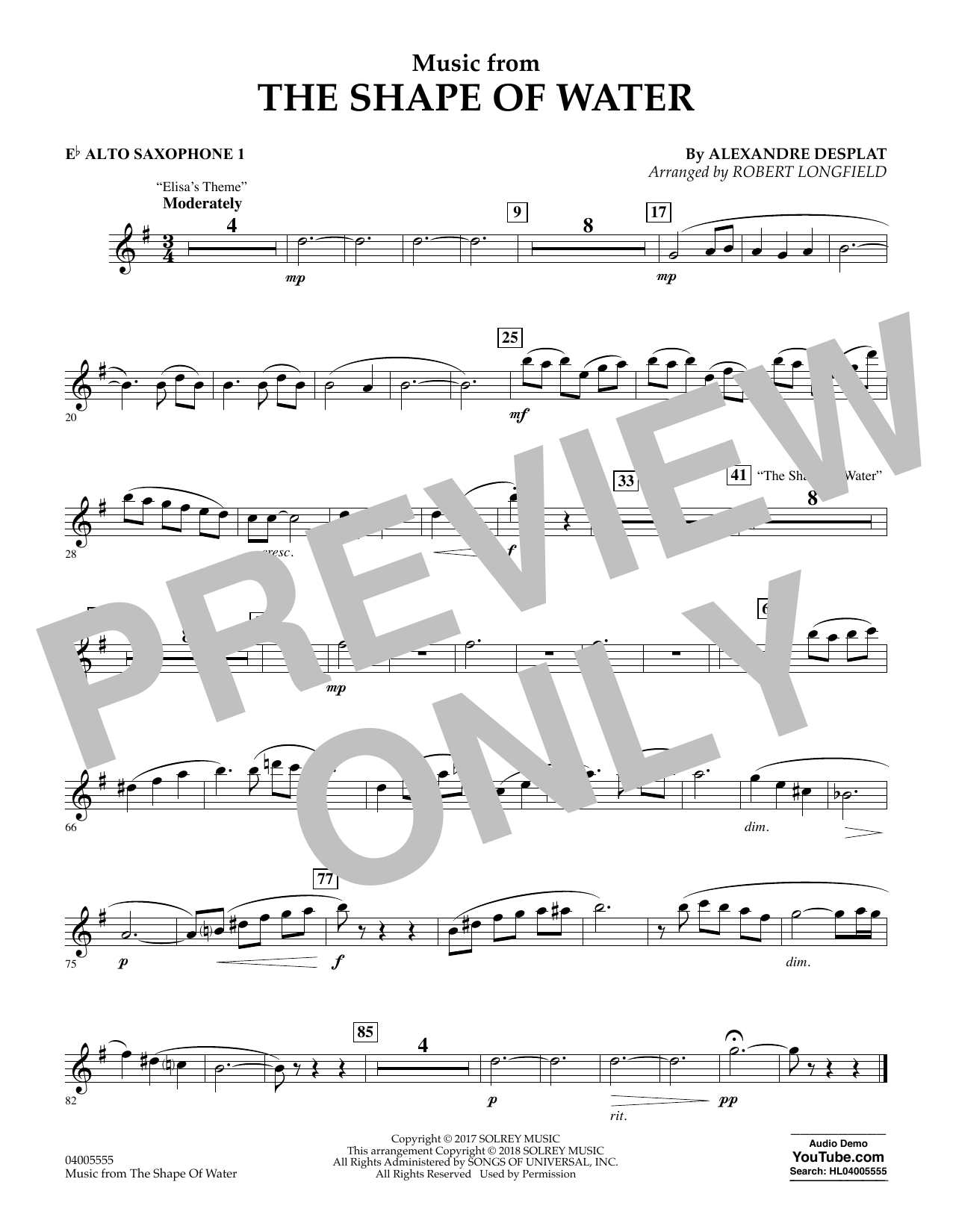 Music from The Shape of Water - Eb Alto Saxophone 1 (Concert Band)