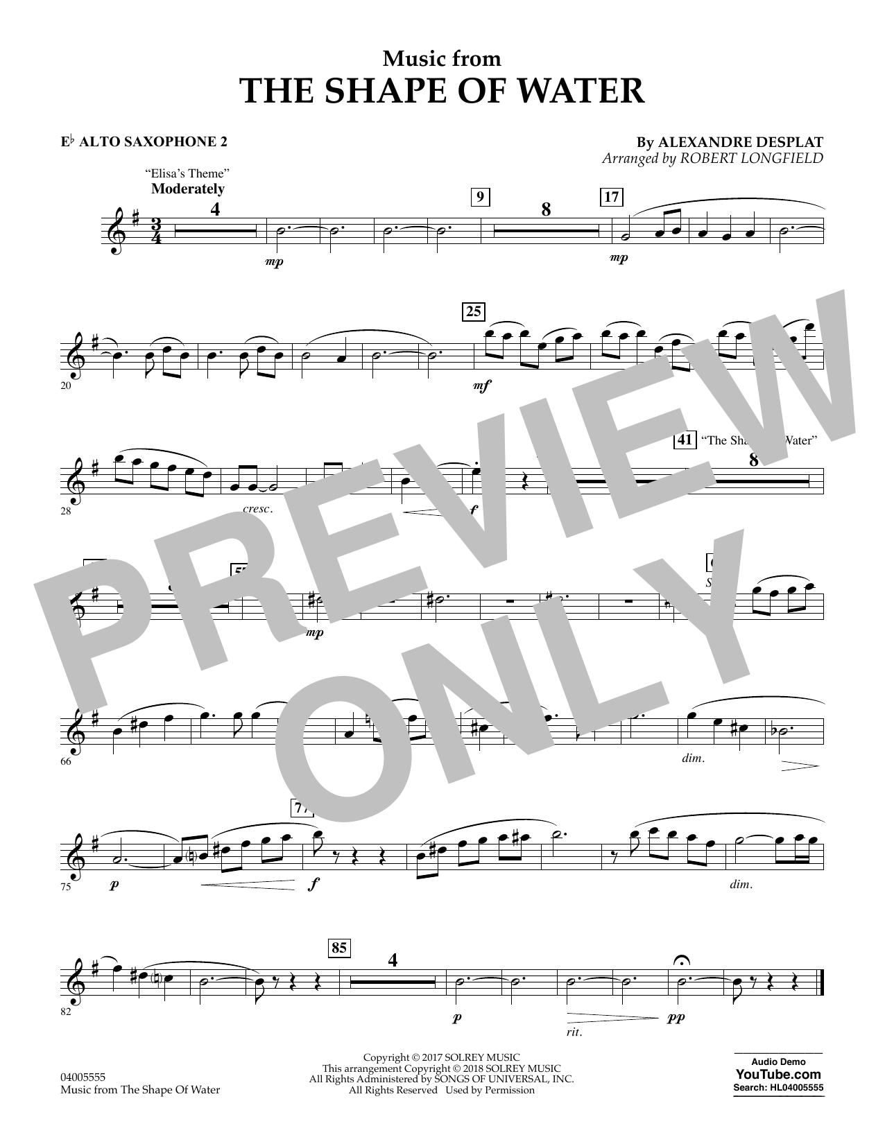 Music from The Shape of Water - Eb Alto Saxophone 2 (Concert Band)