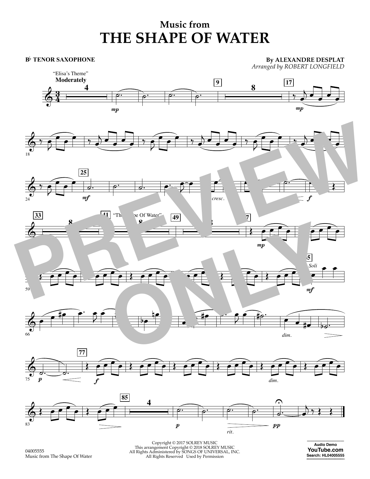 Music from The Shape of Water - Bb Tenor Saxophone (Concert Band)