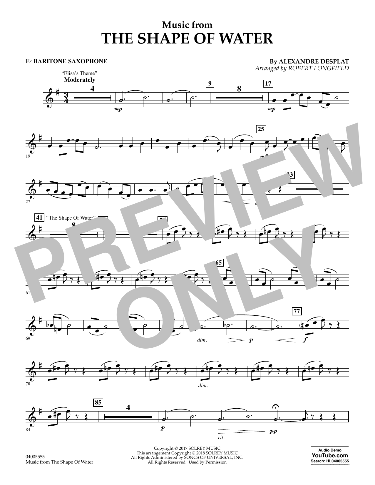 Music from The Shape of Water - Eb Baritone Saxophone (Concert Band)