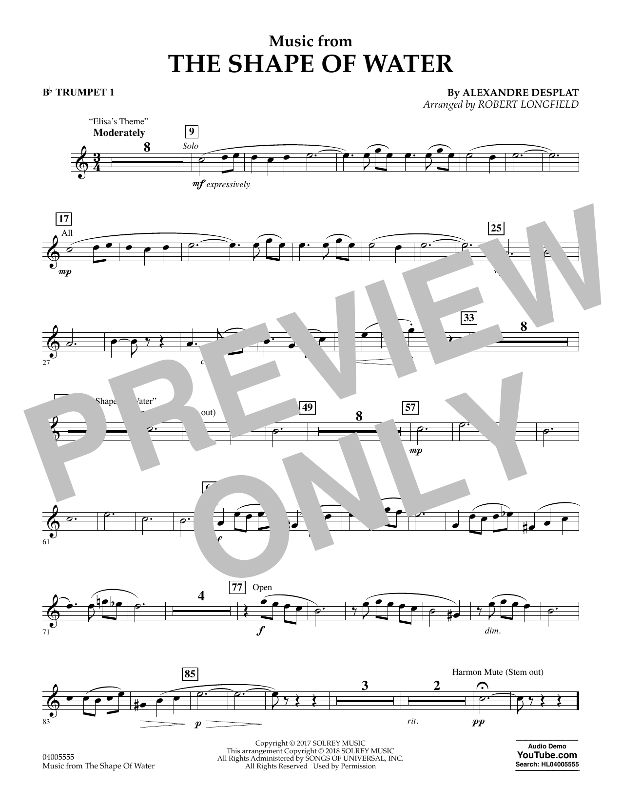 Music from The Shape of Water - Bb Trumpet 1 (Concert Band)