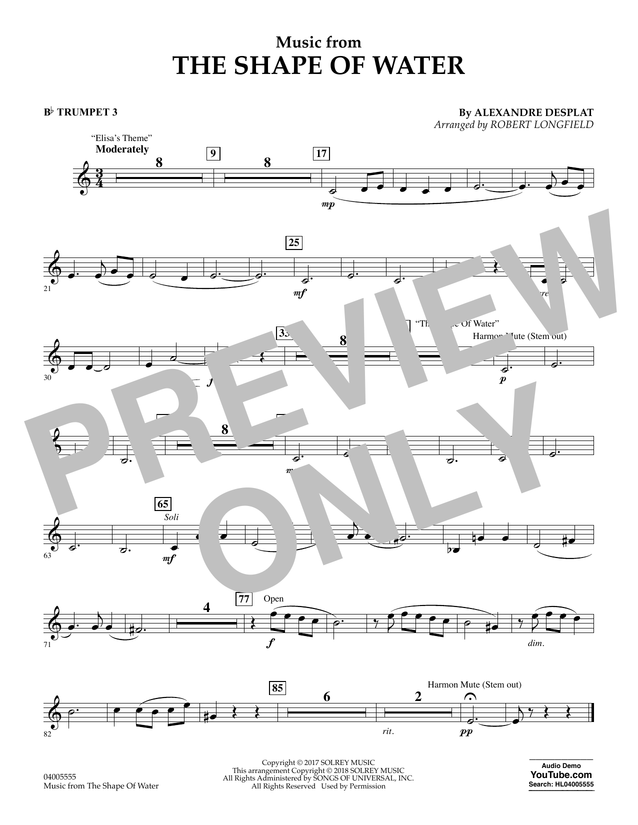 Music from The Shape of Water - Bb Trumpet 3 (Concert Band)