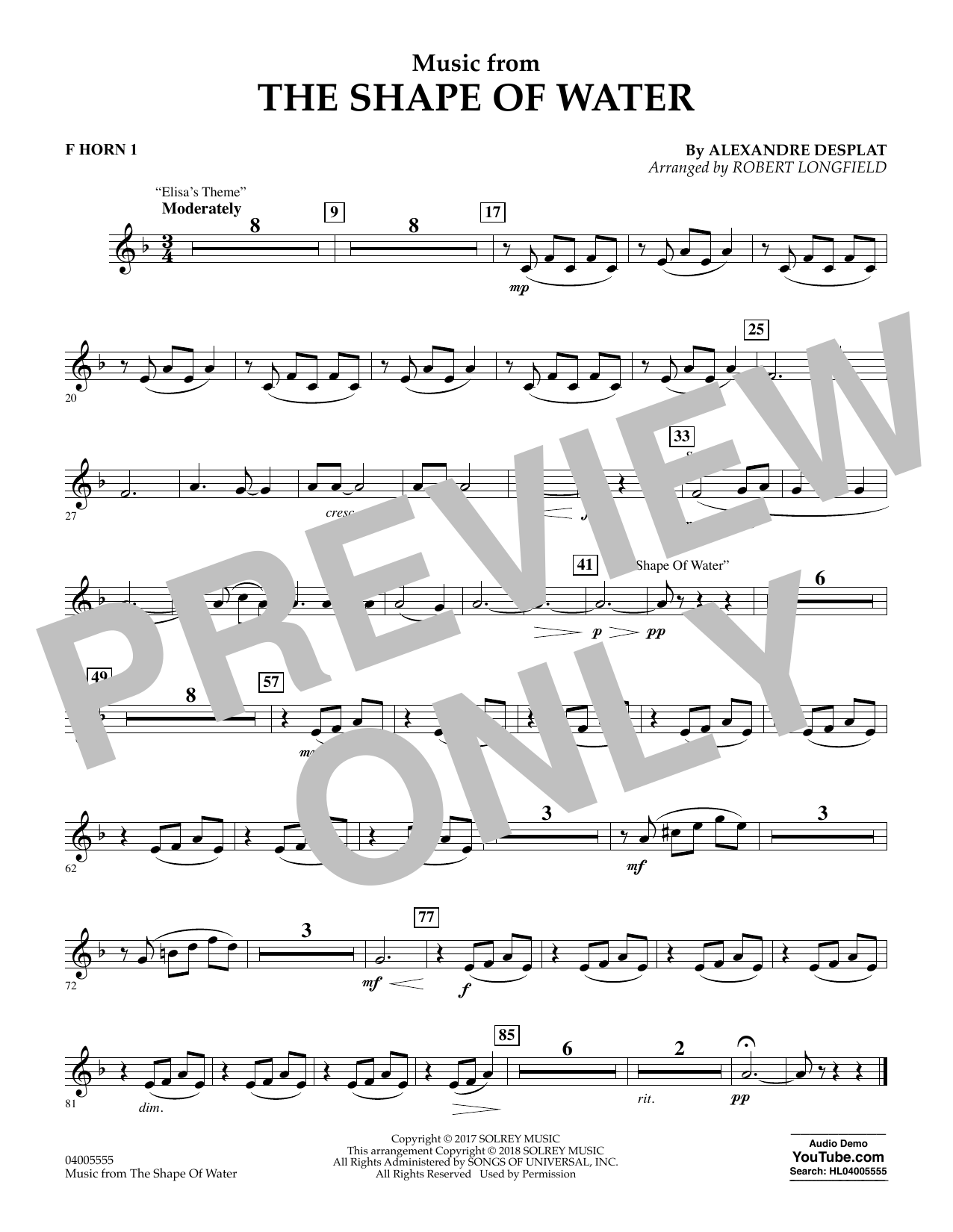 Music from The Shape of Water - F Horn 1 (Concert Band)