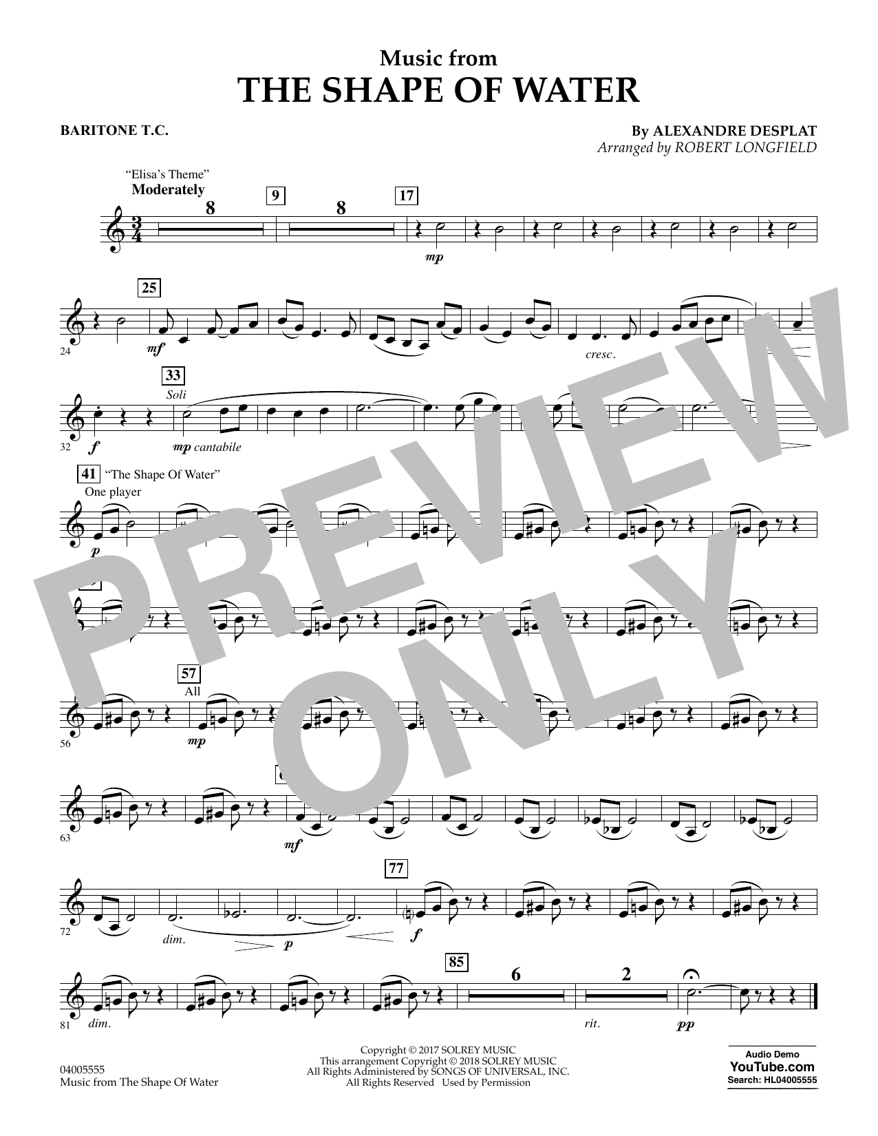 Music from The Shape of Water - Baritone T.C. (Concert Band)