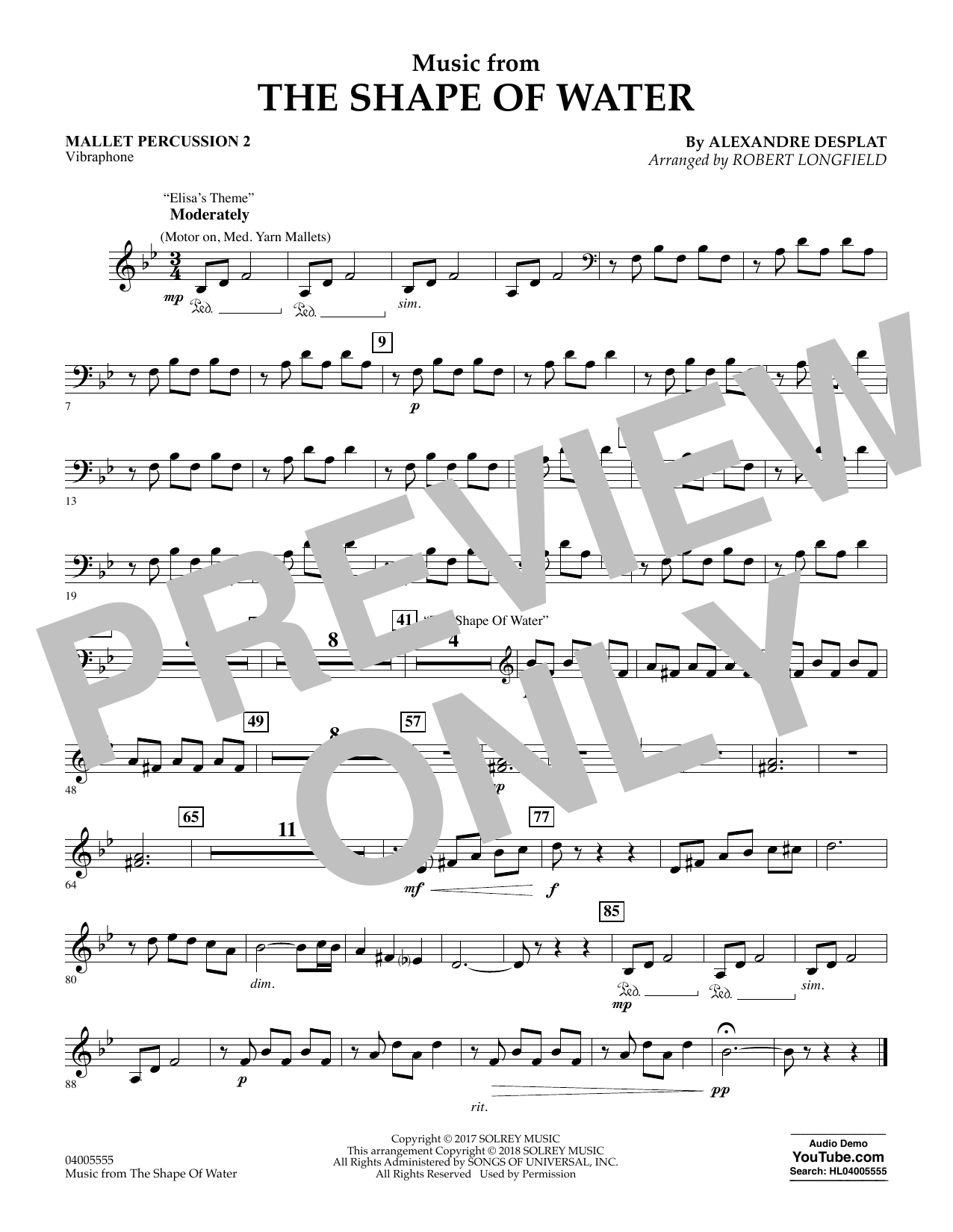 Music from The Shape of Water - Mallet Percussion 2 (Concert Band)