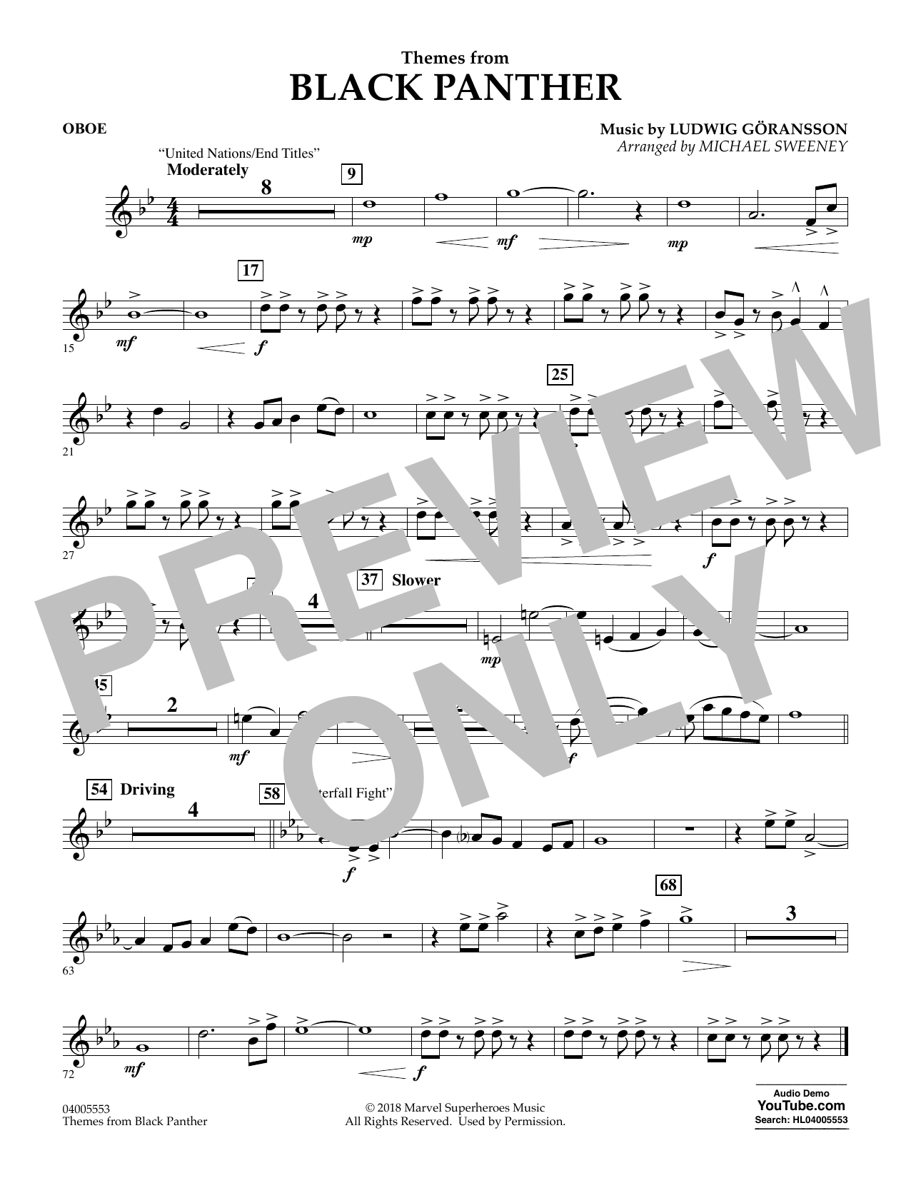 Themes from Black Panther - Oboe (Concert Band)
