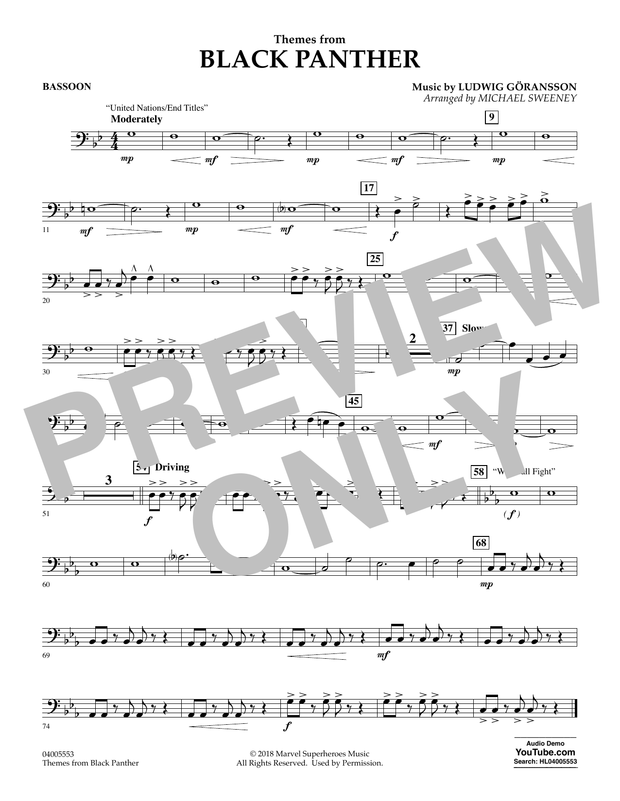 Themes from Black Panther - Bassoon (Concert Band)