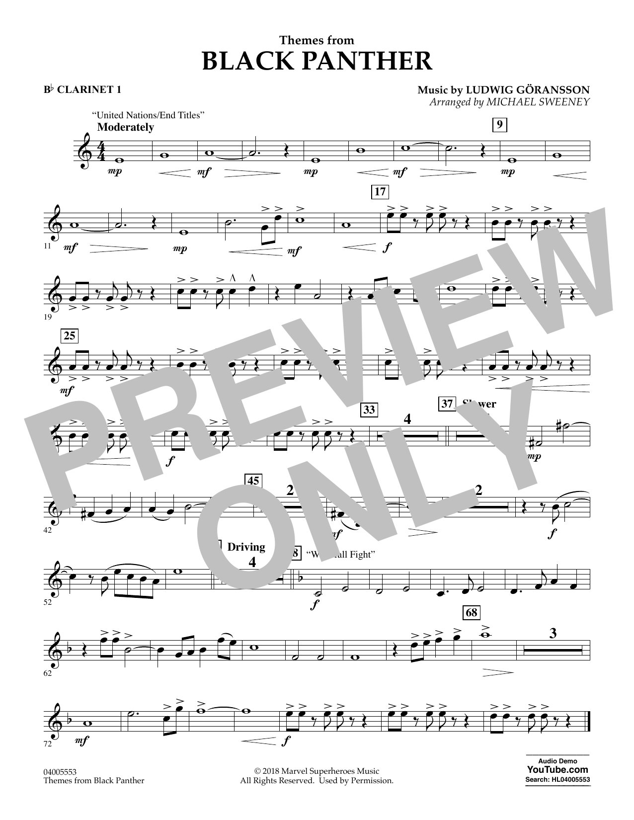 Themes from Black Panther - Bb Clarinet 1 (Concert Band)
