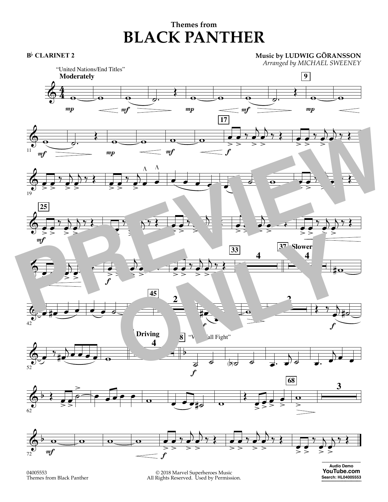 Themes from Black Panther - Bb Clarinet 2 (Concert Band)