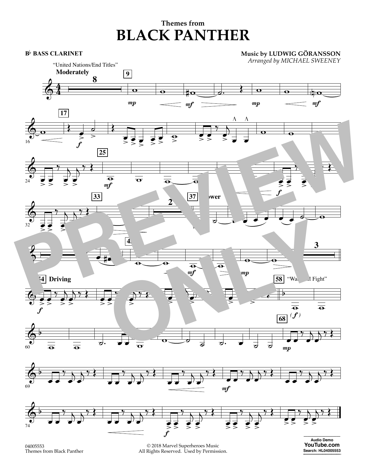 Themes from Black Panther - Bb Bass Clarinet (Concert Band)