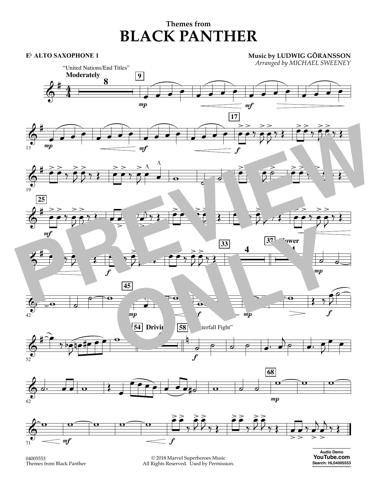 Themes from Black Panther - Eb Alto Saxophone 1 (Concert Band)