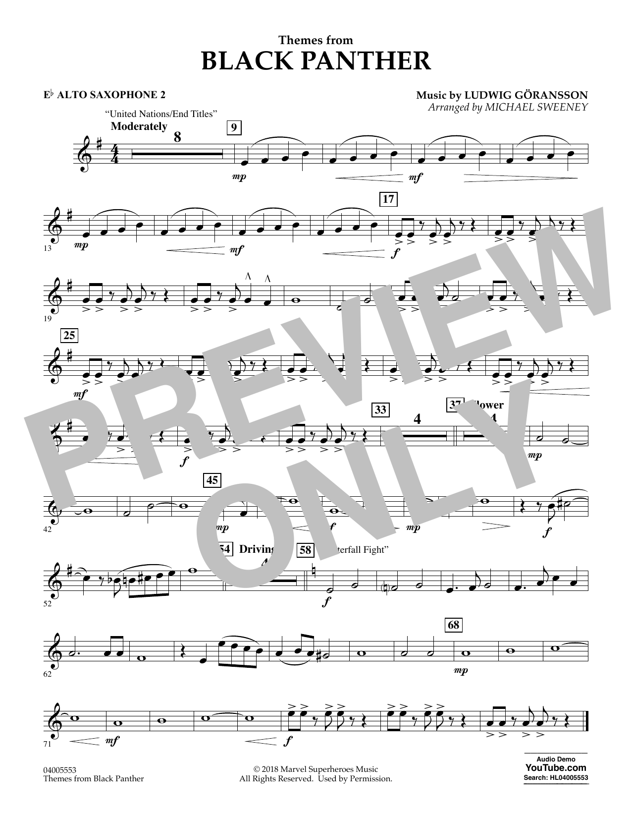 Themes from Black Panther - Eb Alto Saxophone 2 (Concert Band)
