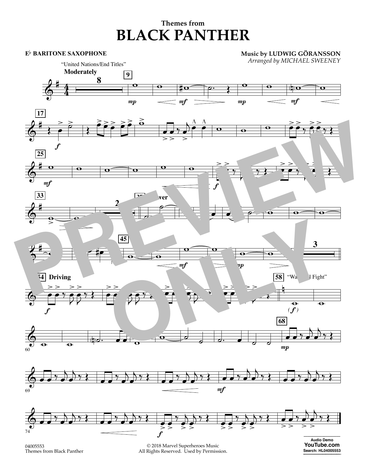 Themes from Black Panther - Eb Baritone Saxophone (Concert Band)