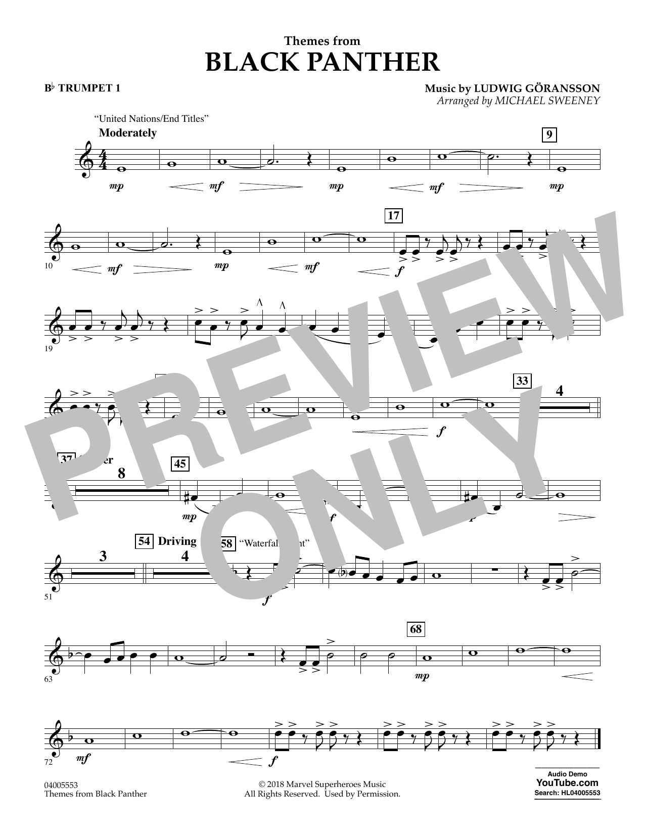 Themes from Black Panther - Bb Trumpet 1 (Concert Band)