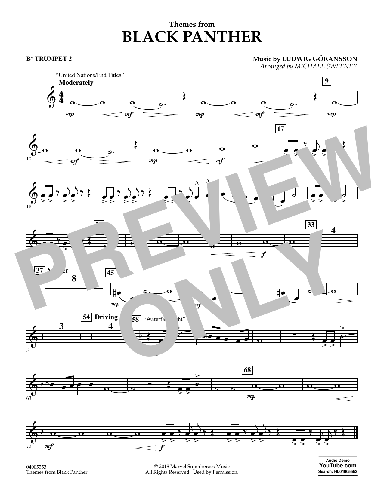 Themes from Black Panther - Bb Trumpet 2 (Concert Band)