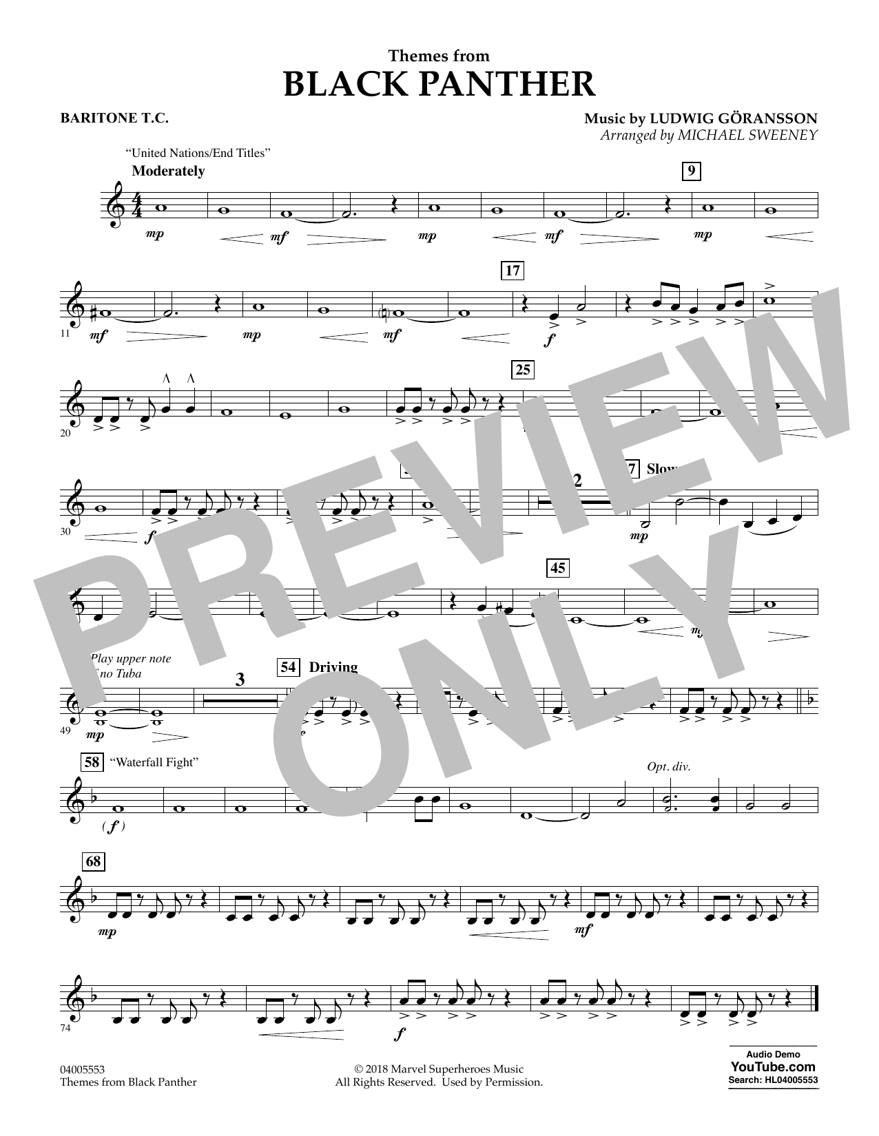 Themes from Black Panther - Baritone T.C. (Concert Band)