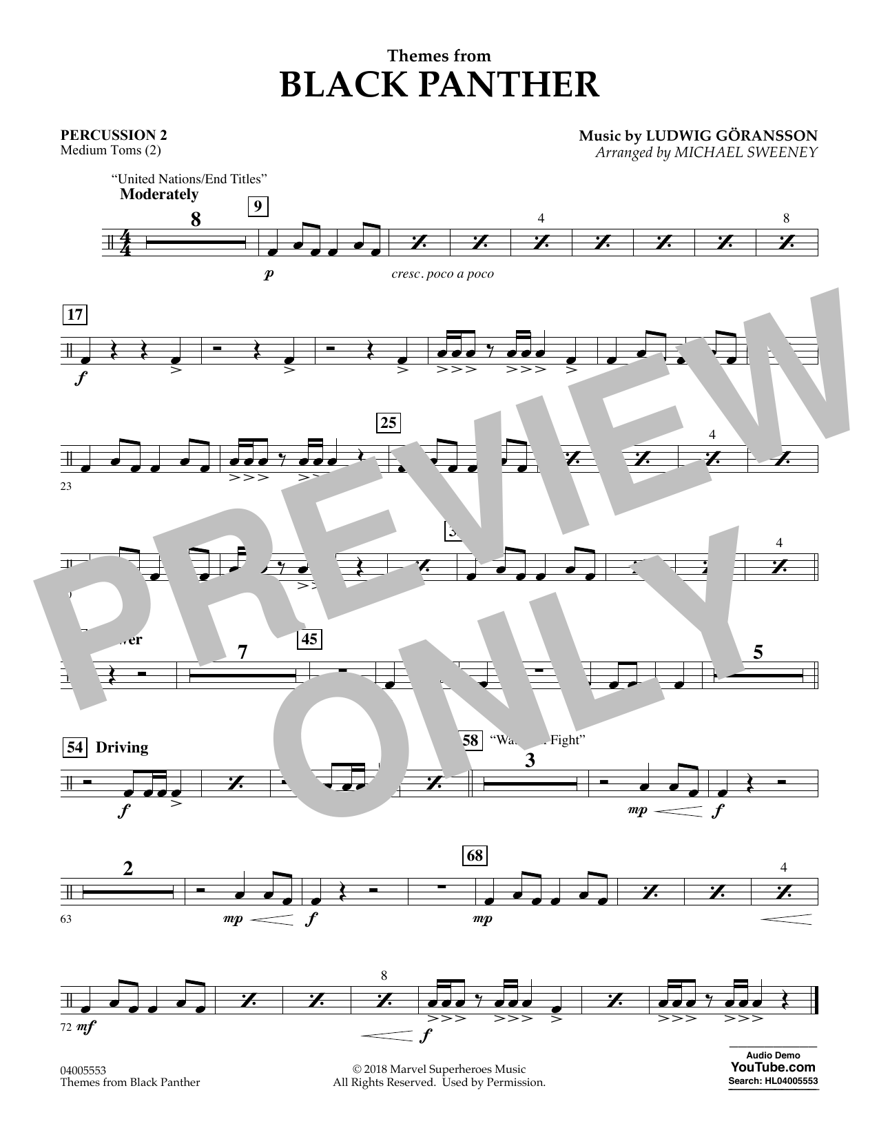 Themes from Black Panther - Percussion 2 (Concert Band)
