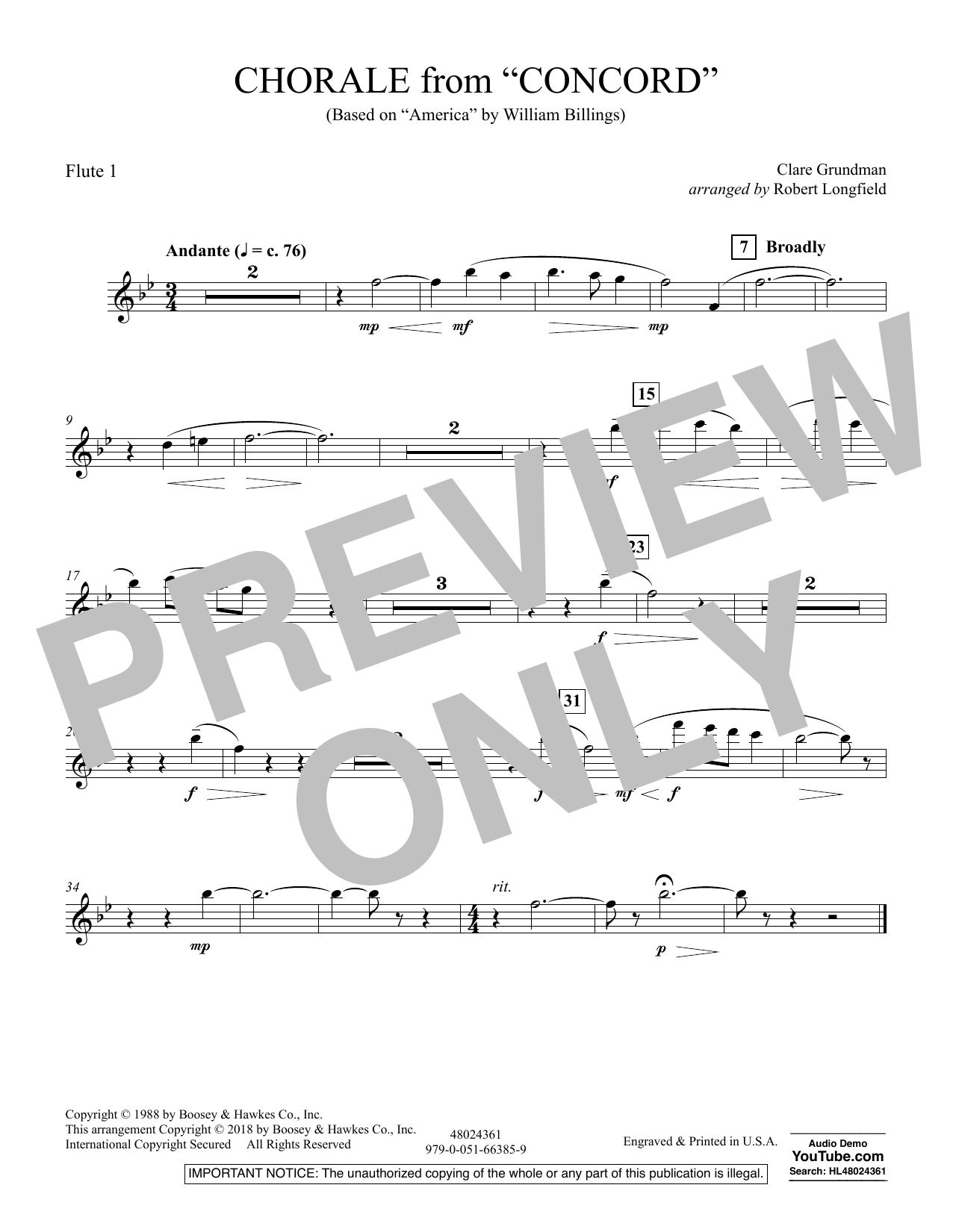 Chorale from Concord - Flute 1 (Concert Band)