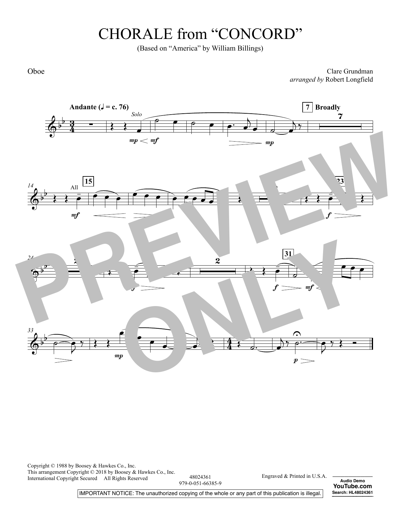 Chorale from Concord - Oboe (Concert Band)
