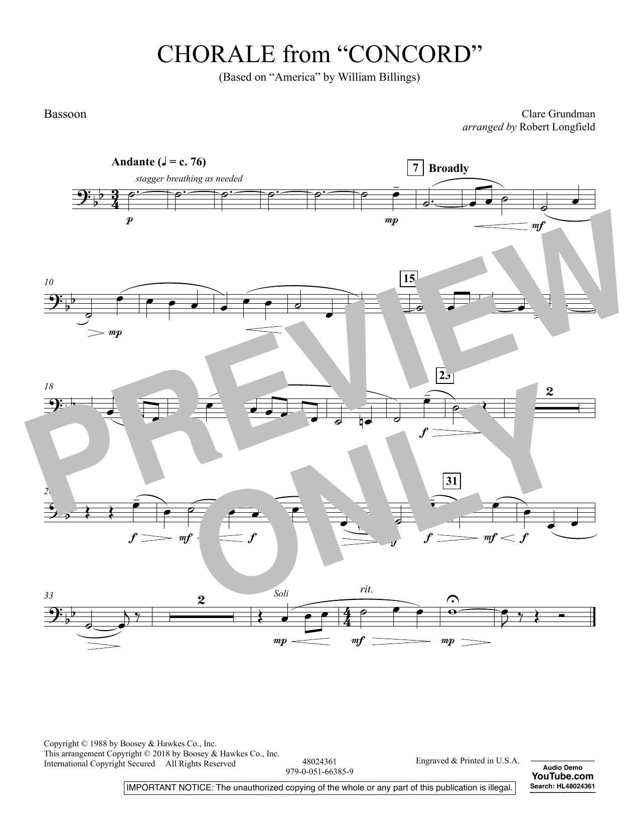 Chorale from Concord - Bassoon (Concert Band)