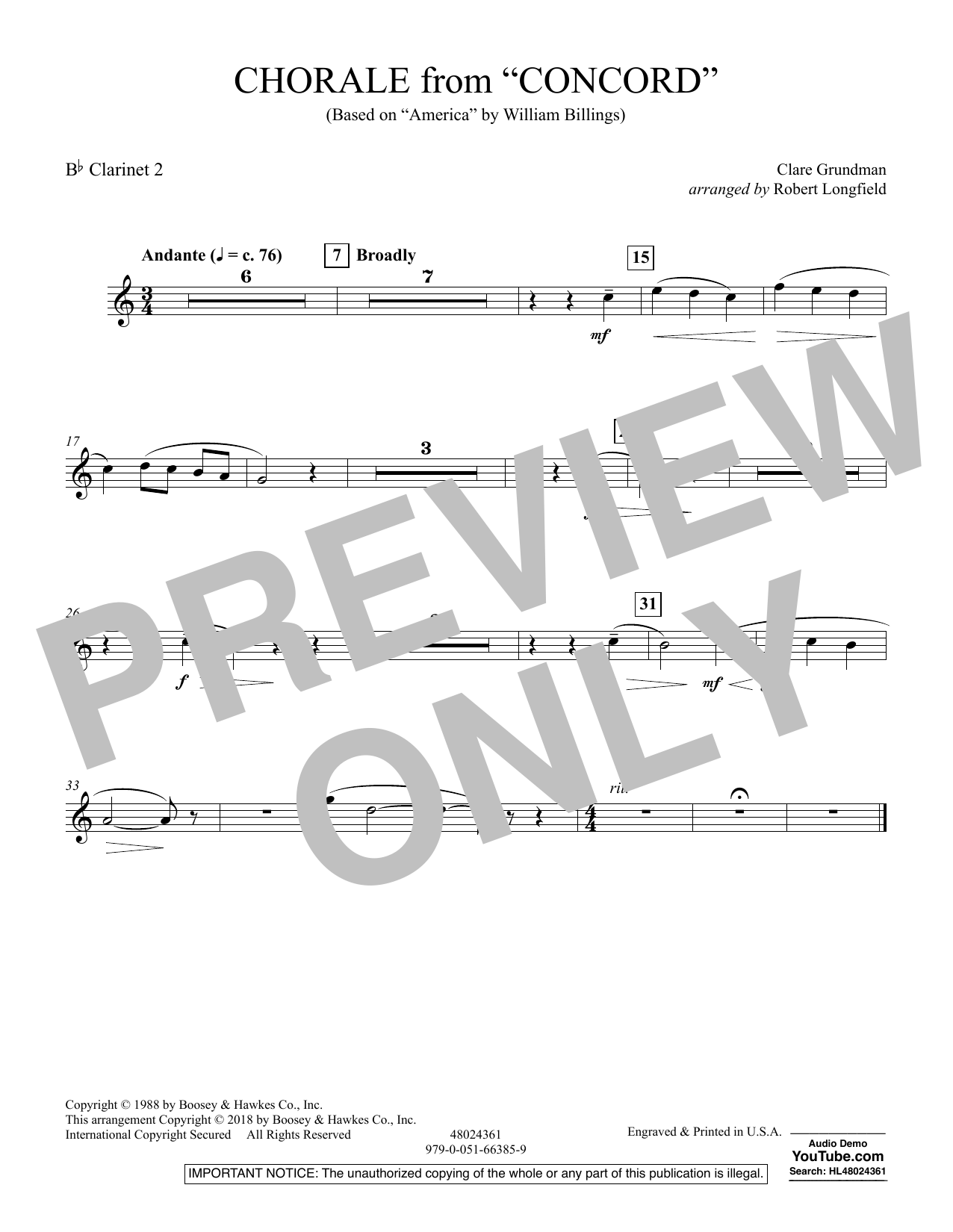 Chorale from Concord - Bb Clarinet 2 (Concert Band)