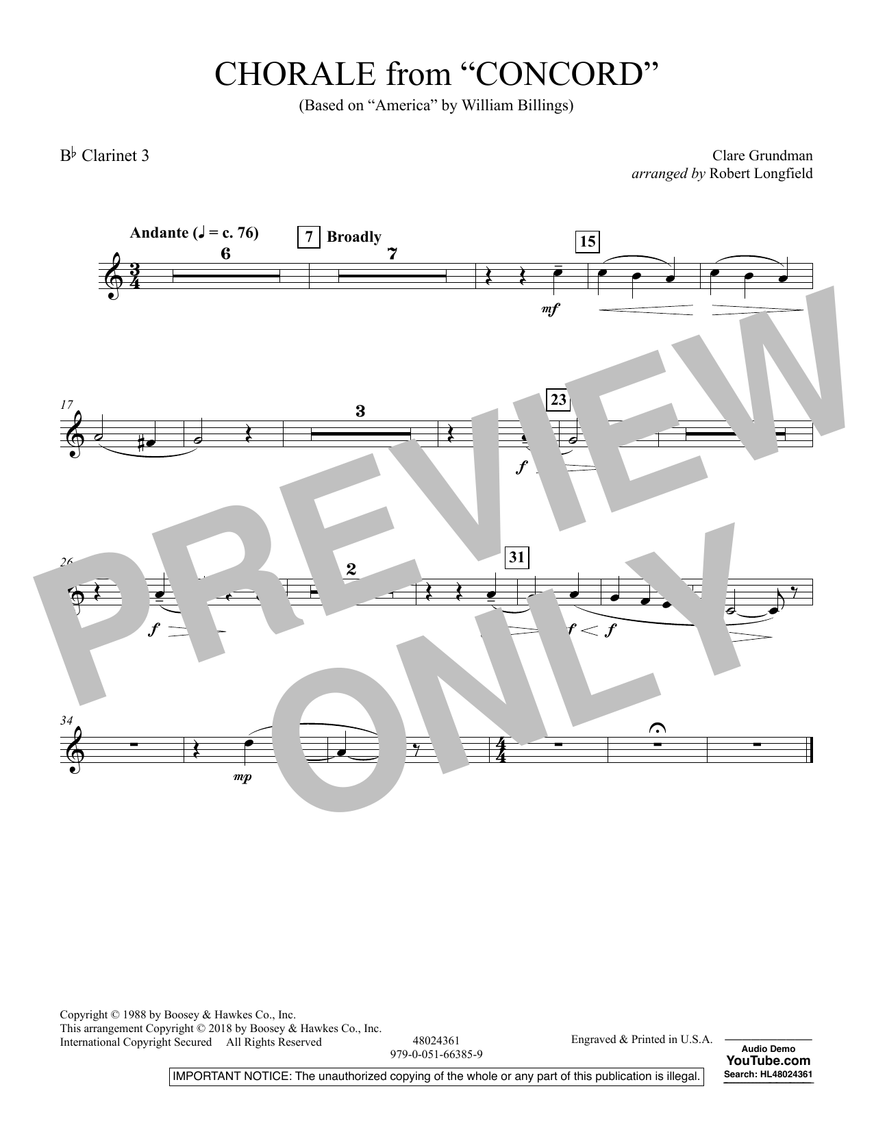 Chorale from Concord - Bb Clarinet 3 (Concert Band)