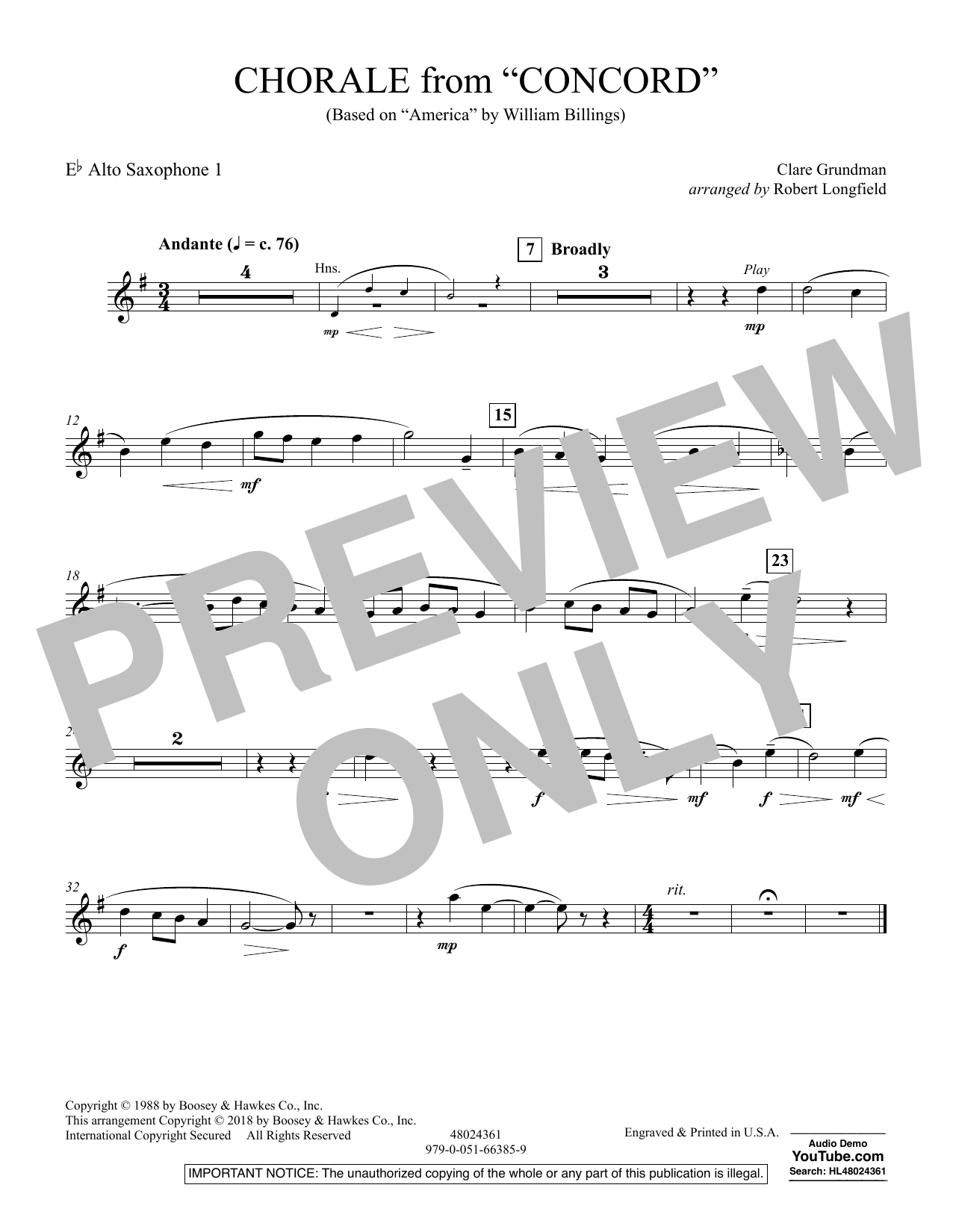 Chorale from Concord - Eb Alto Saxophone 1 (Concert Band)