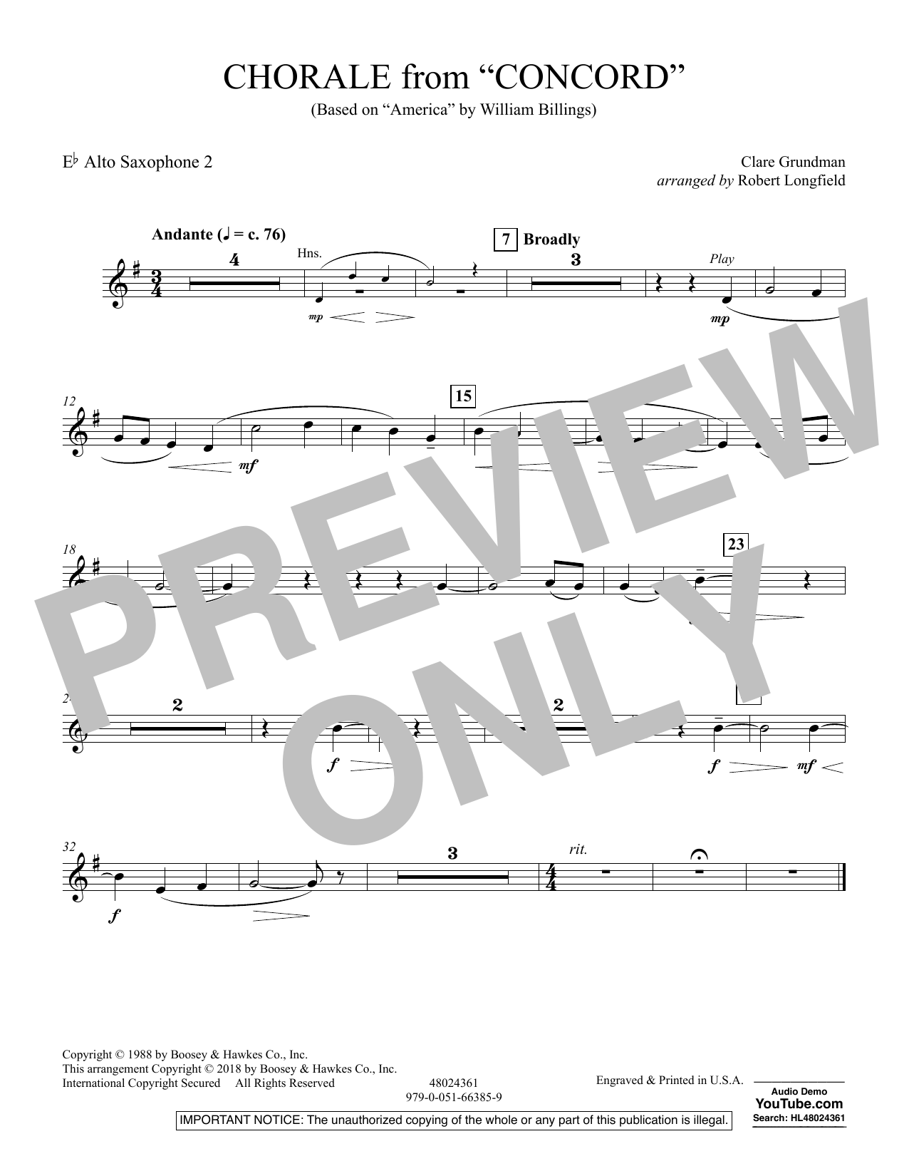 Chorale from Concord - Eb Alto Saxophone 2 (Concert Band)