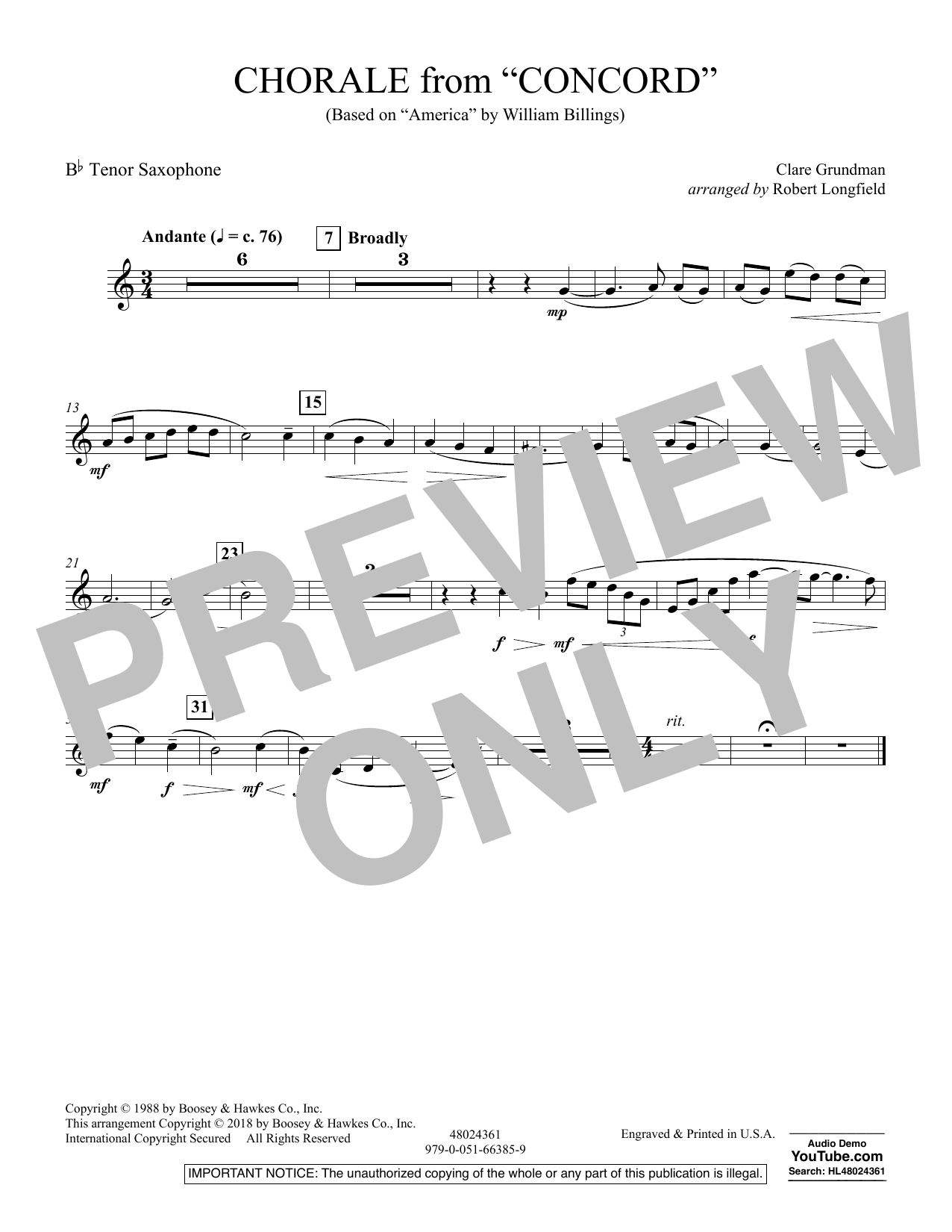 Chorale from Concord - Bb Tenor Saxophone (Concert Band)