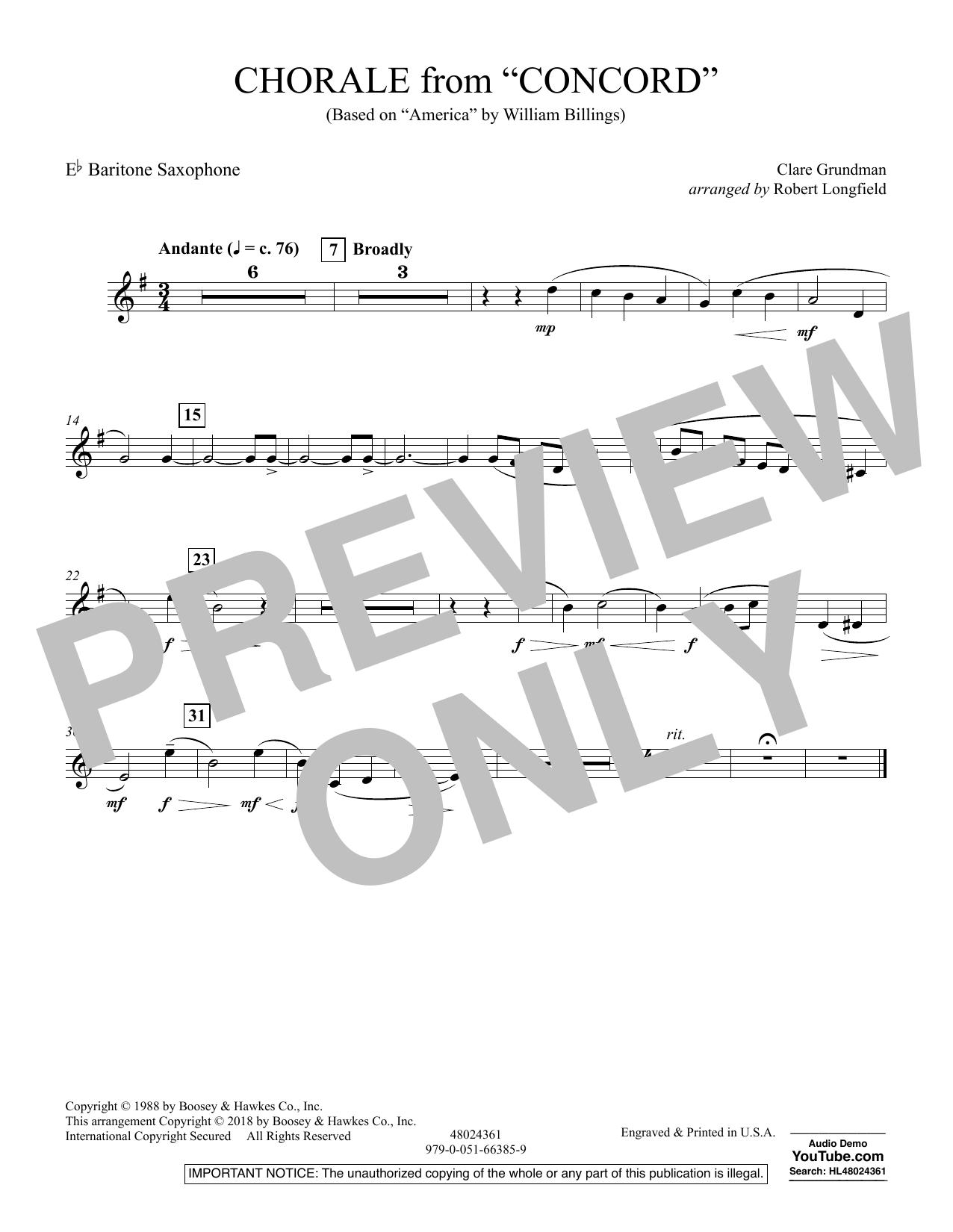 Chorale from Concord - Eb Baritone Saxophone (Concert Band)