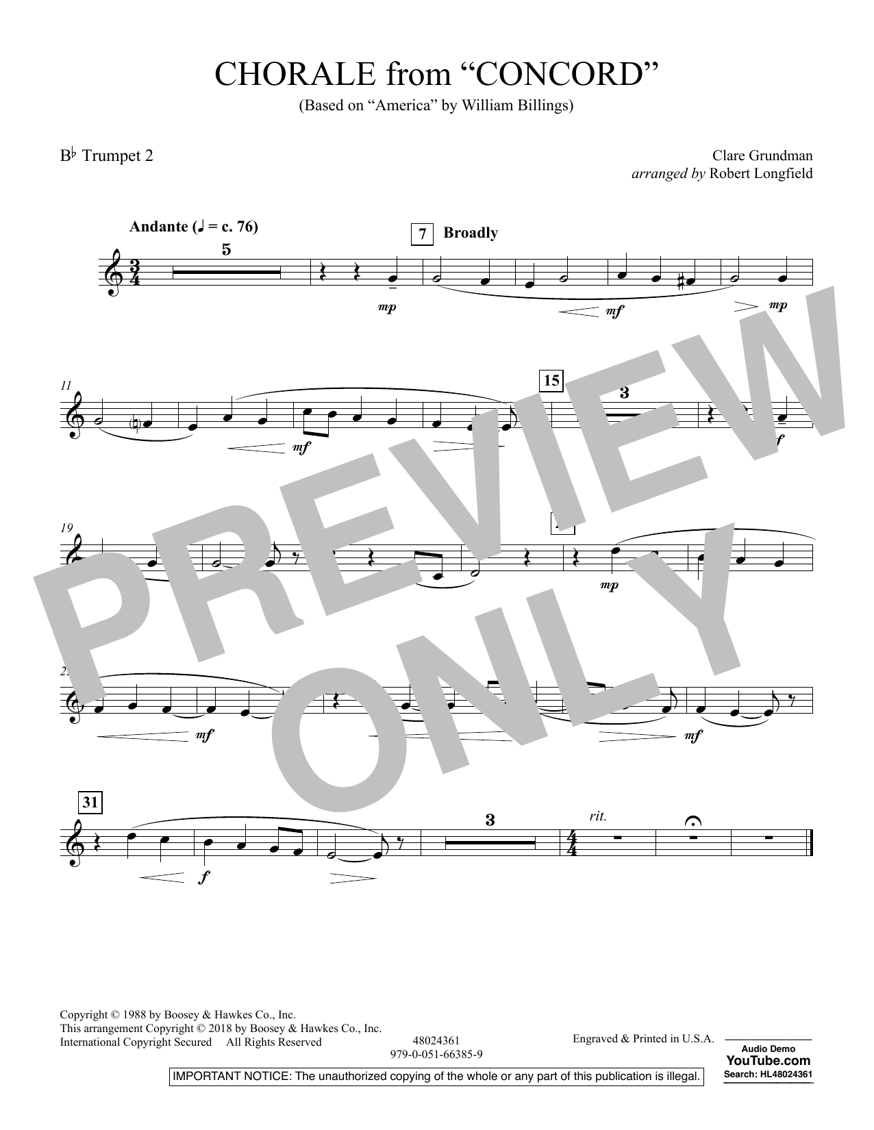 Chorale from Concord - Bb Trumpet 2 (Concert Band)