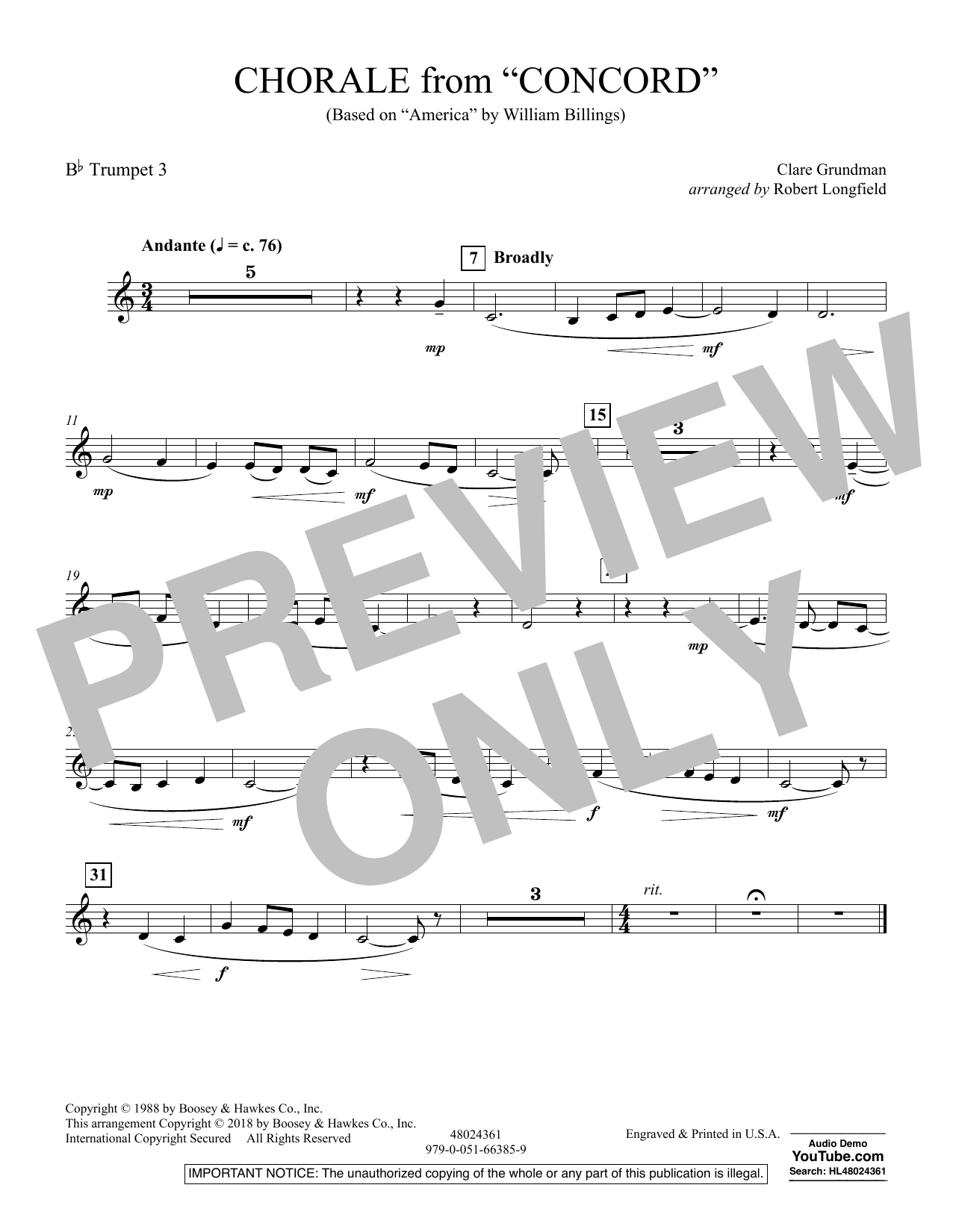 Chorale from Concord - Bb Trumpet 3 (Concert Band)