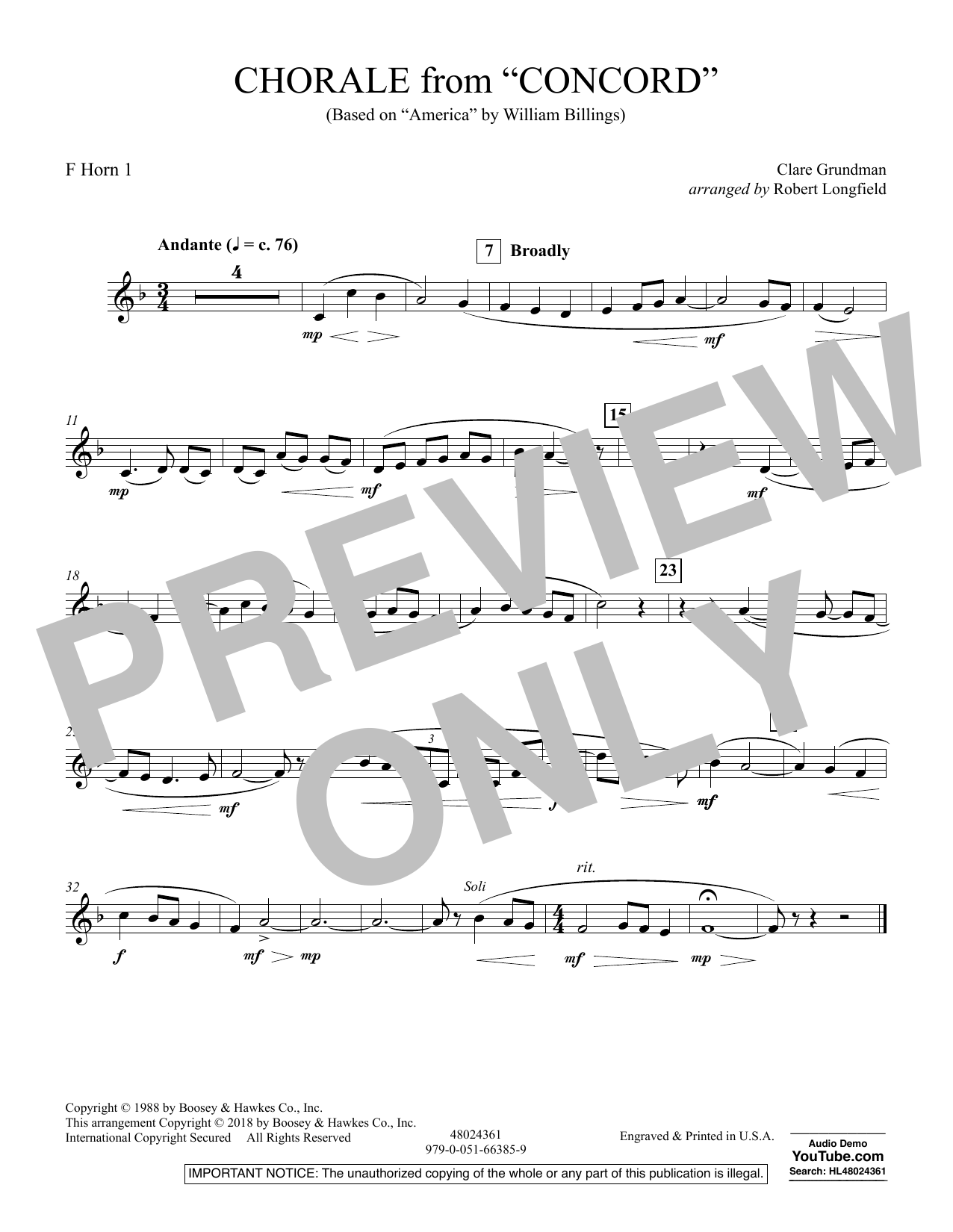 Chorale from Concord - F Horn 1 (Concert Band)
