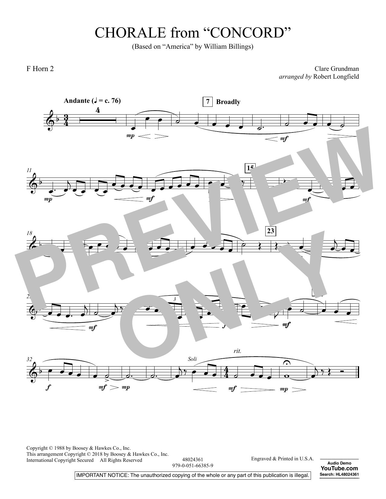 Chorale from Concord - F Horn 2 (Concert Band)