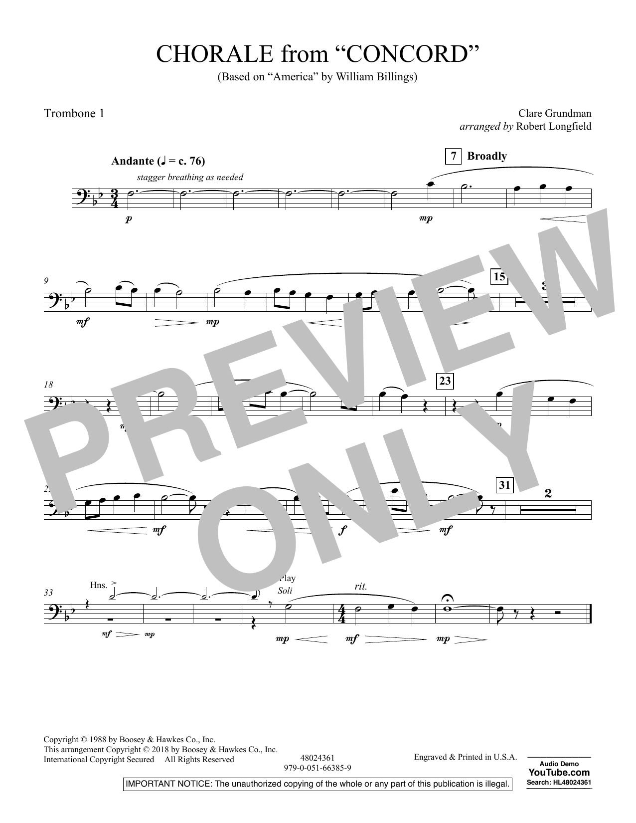 Chorale from Concord - Trombone 1 (Concert Band)