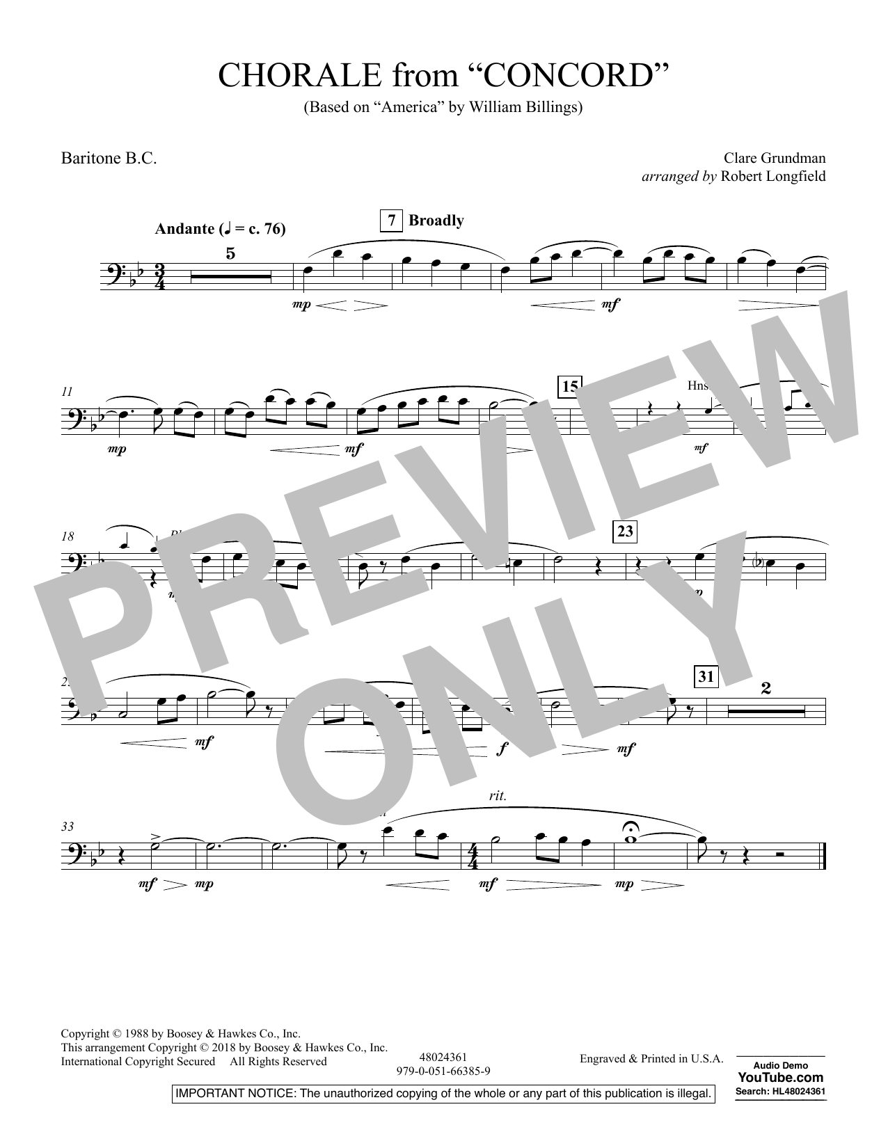 Chorale from Concord - Baritone B.C. (Concert Band)