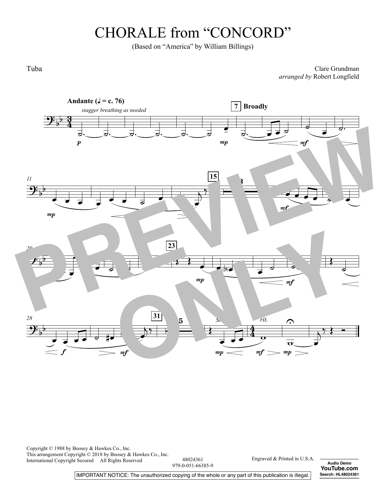 Chorale from Concord - Tuba (Concert Band)