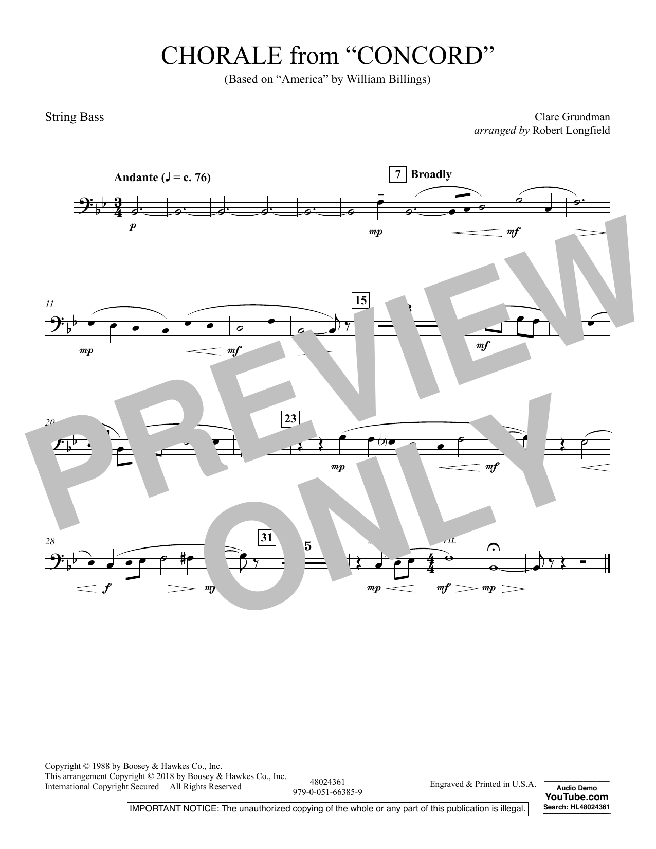 Chorale from Concord - String Bass (Concert Band)