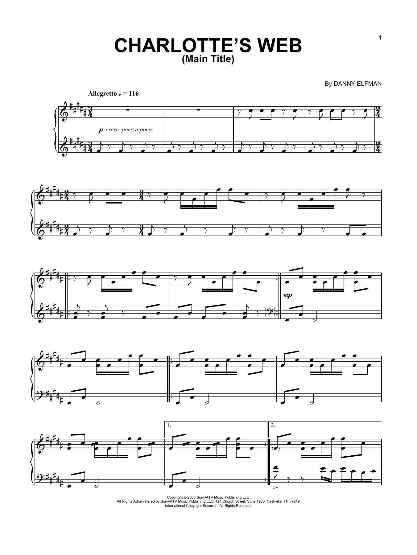 Charlotte's Web Main Title (Piano Solo)