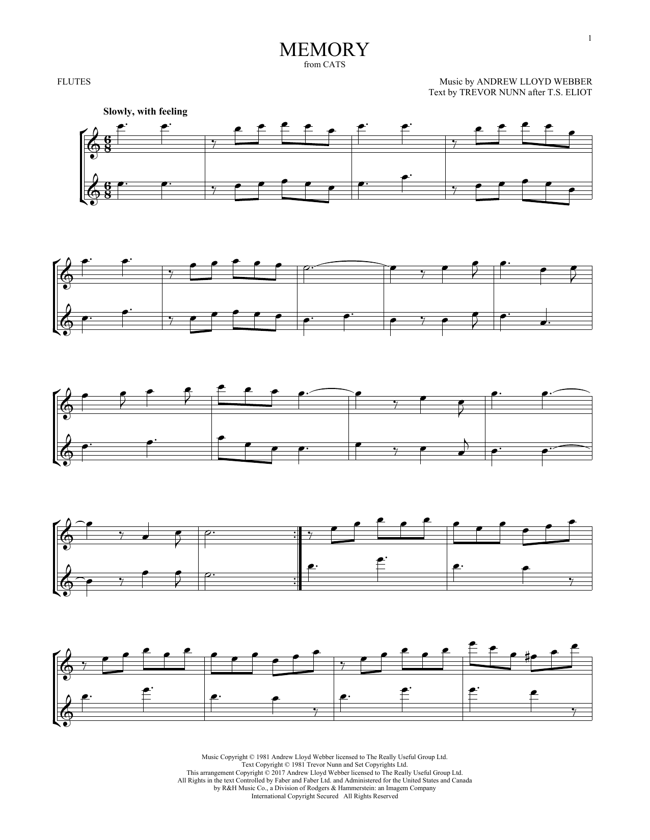 Memory (from Cats) (Flute Duet)