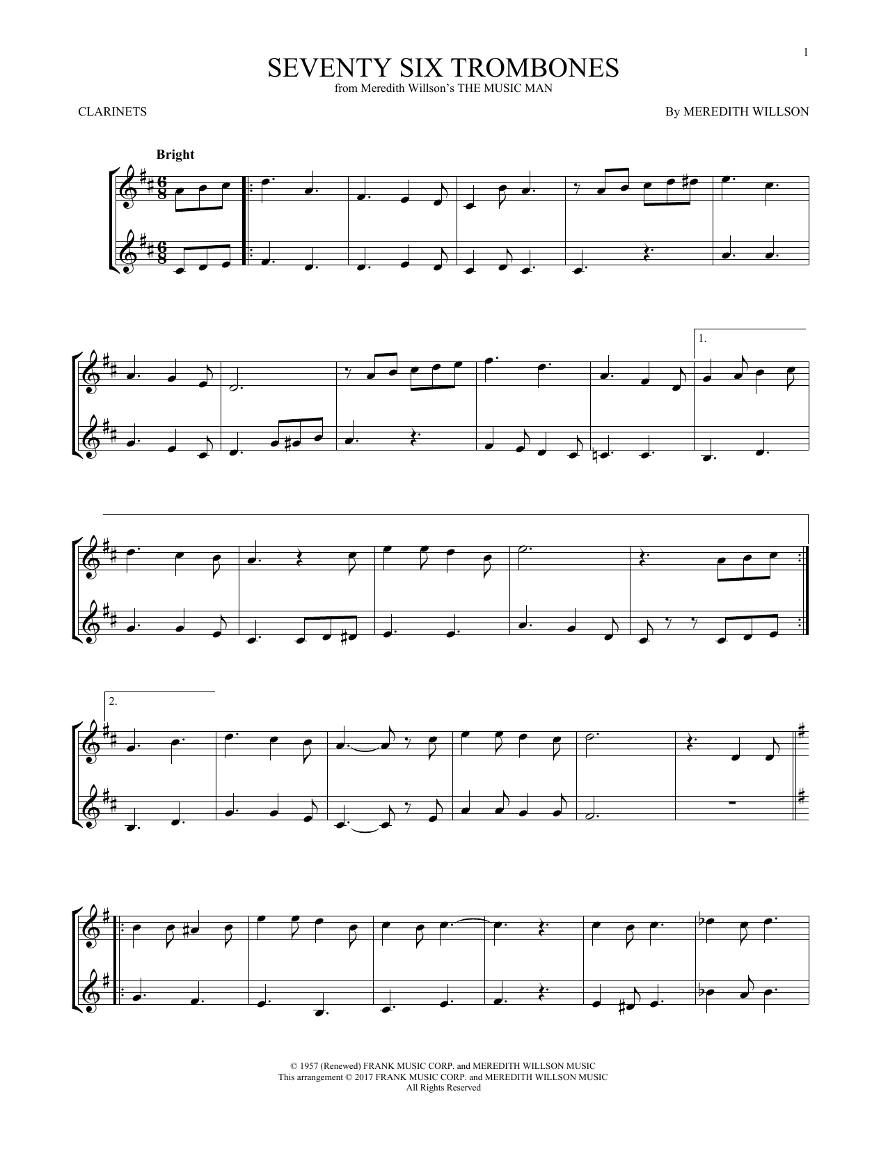 Seventy Six Trombones (Clarinet Duet)