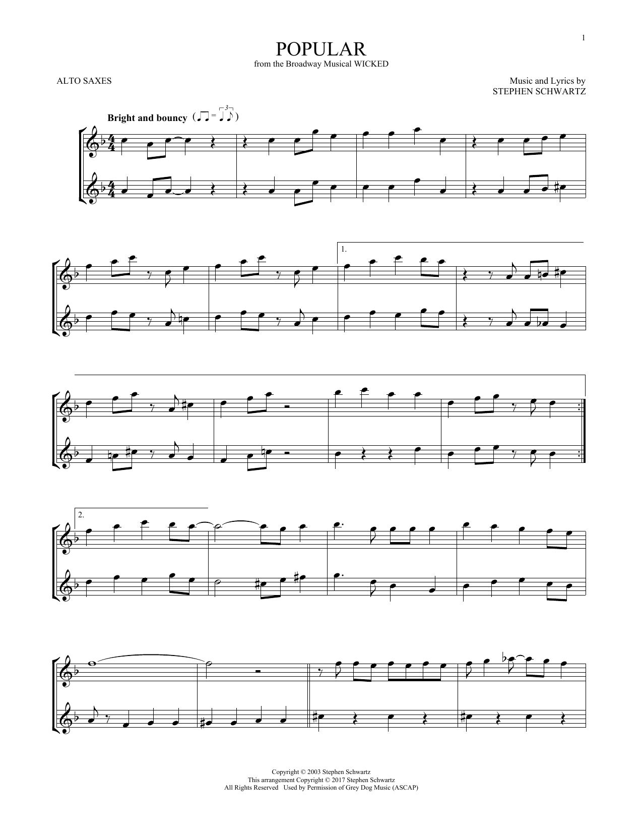 Popular (from Wicked) (Alto Sax Duet)