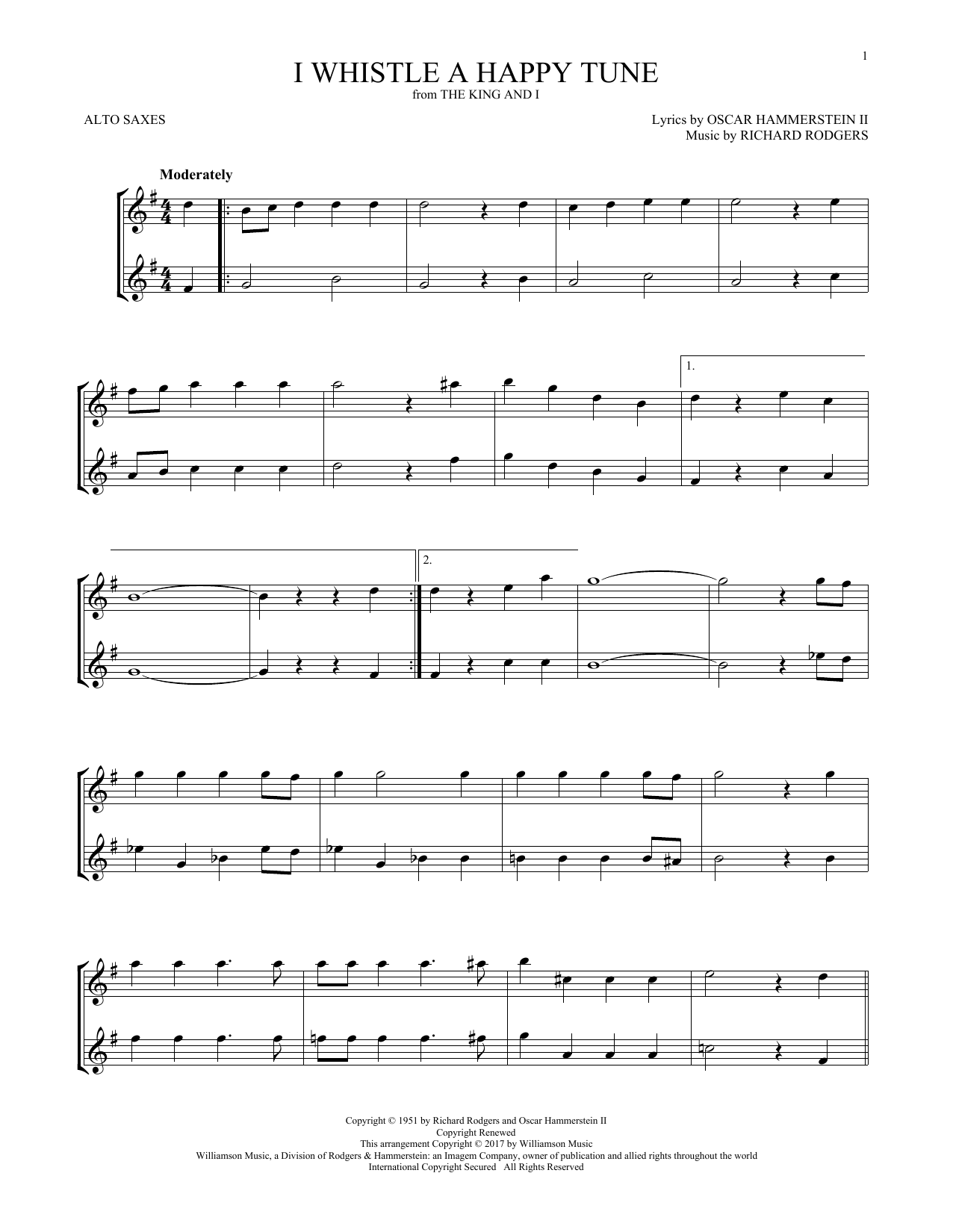 I Whistle A Happy Tune (Alto Sax Duet)