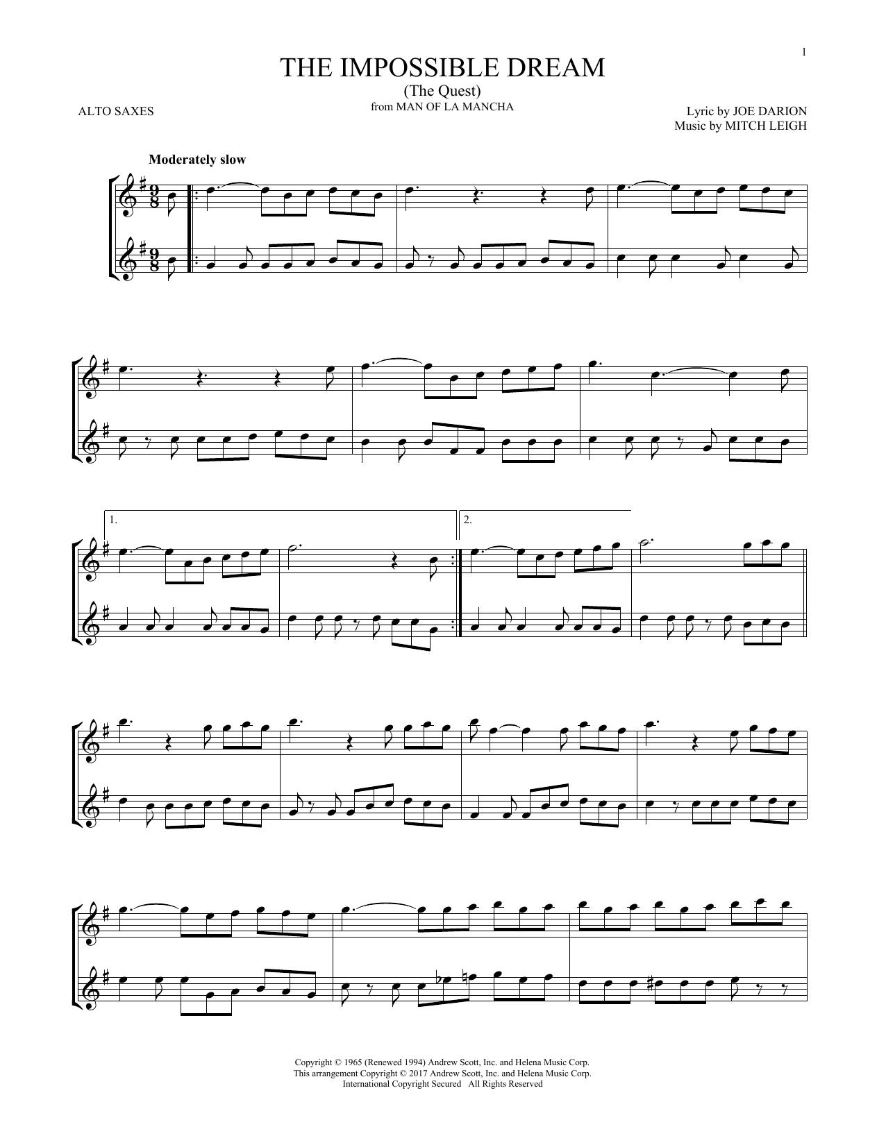 The Impossible Dream (The Quest) (Alto Sax Duet)