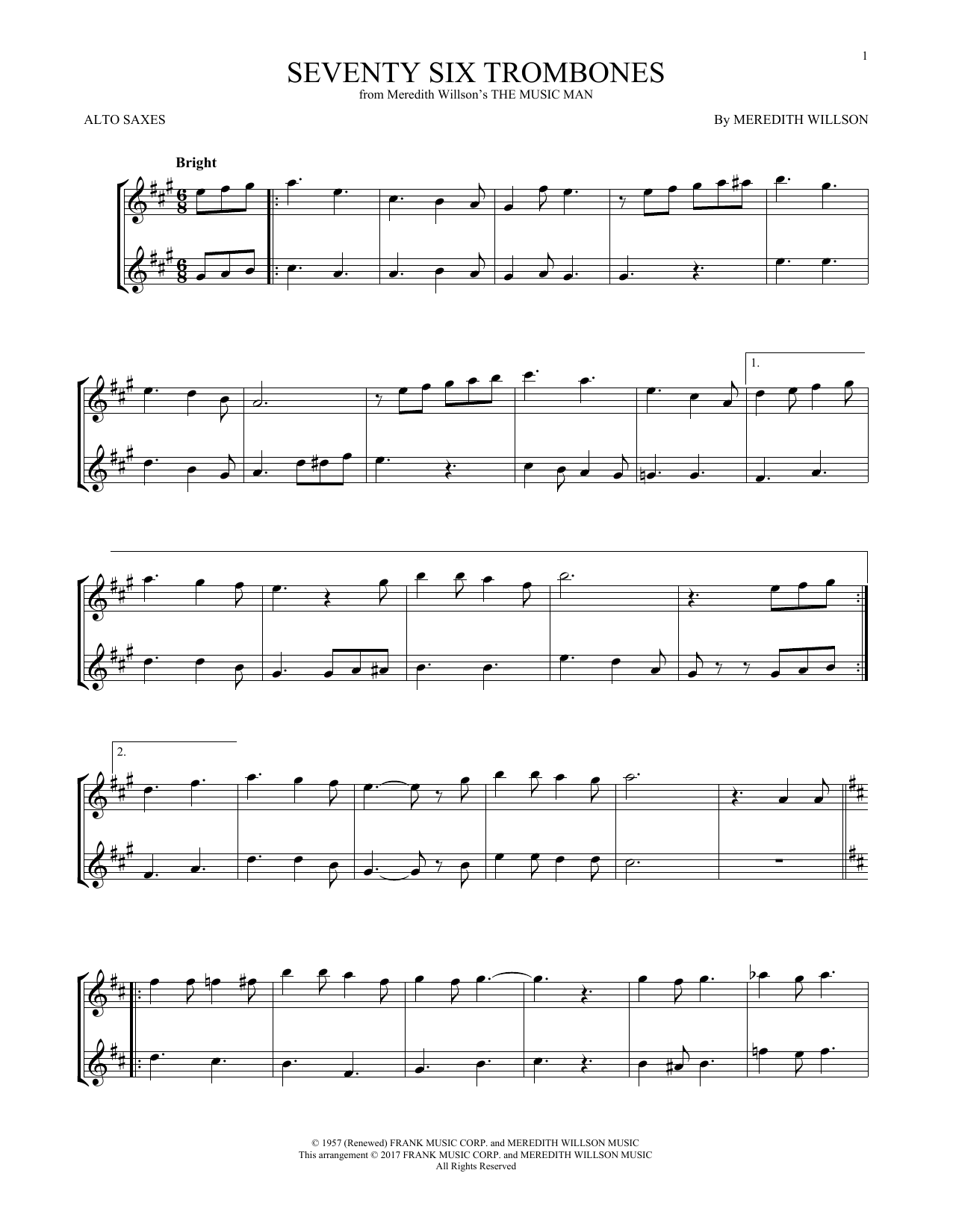 Seventy Six Trombones (Alto Sax Duet)