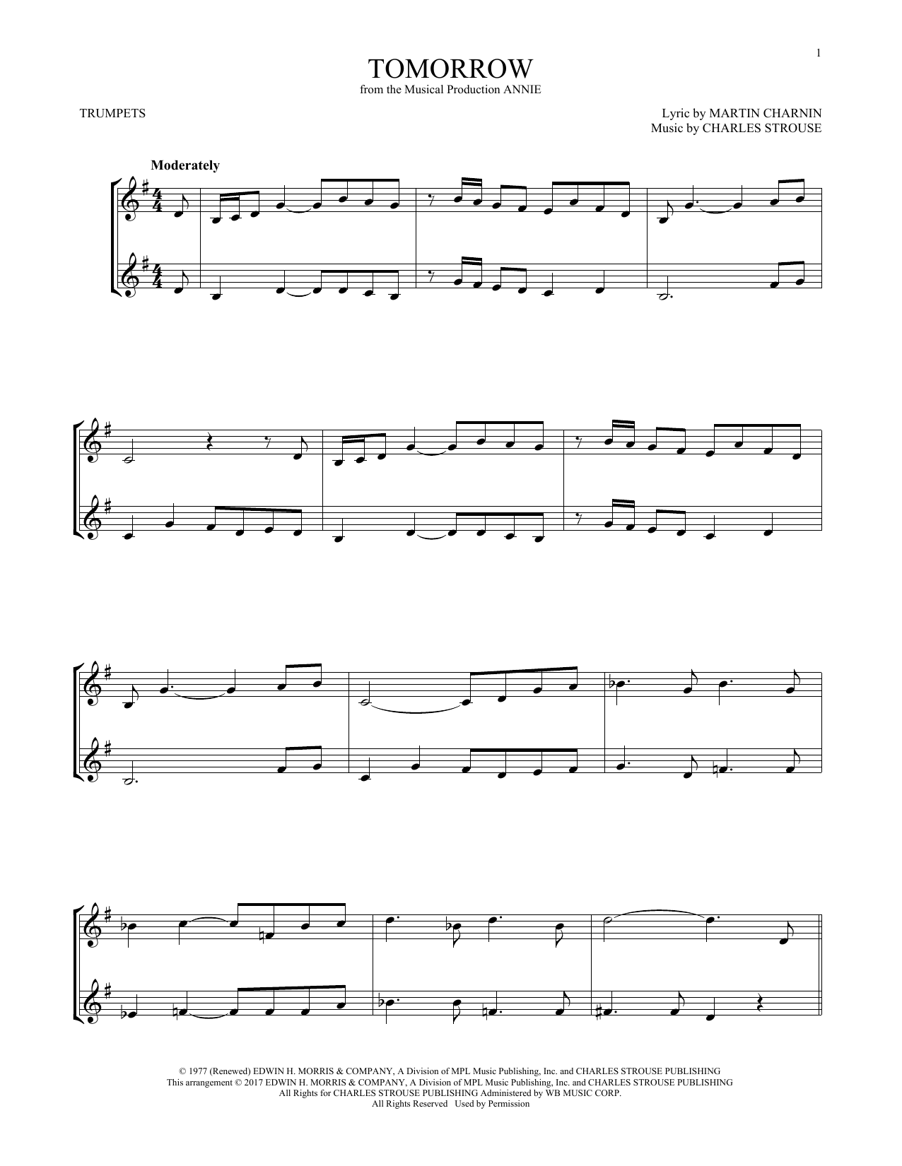 Tomorrow (from Annie) (Trumpet Duet)