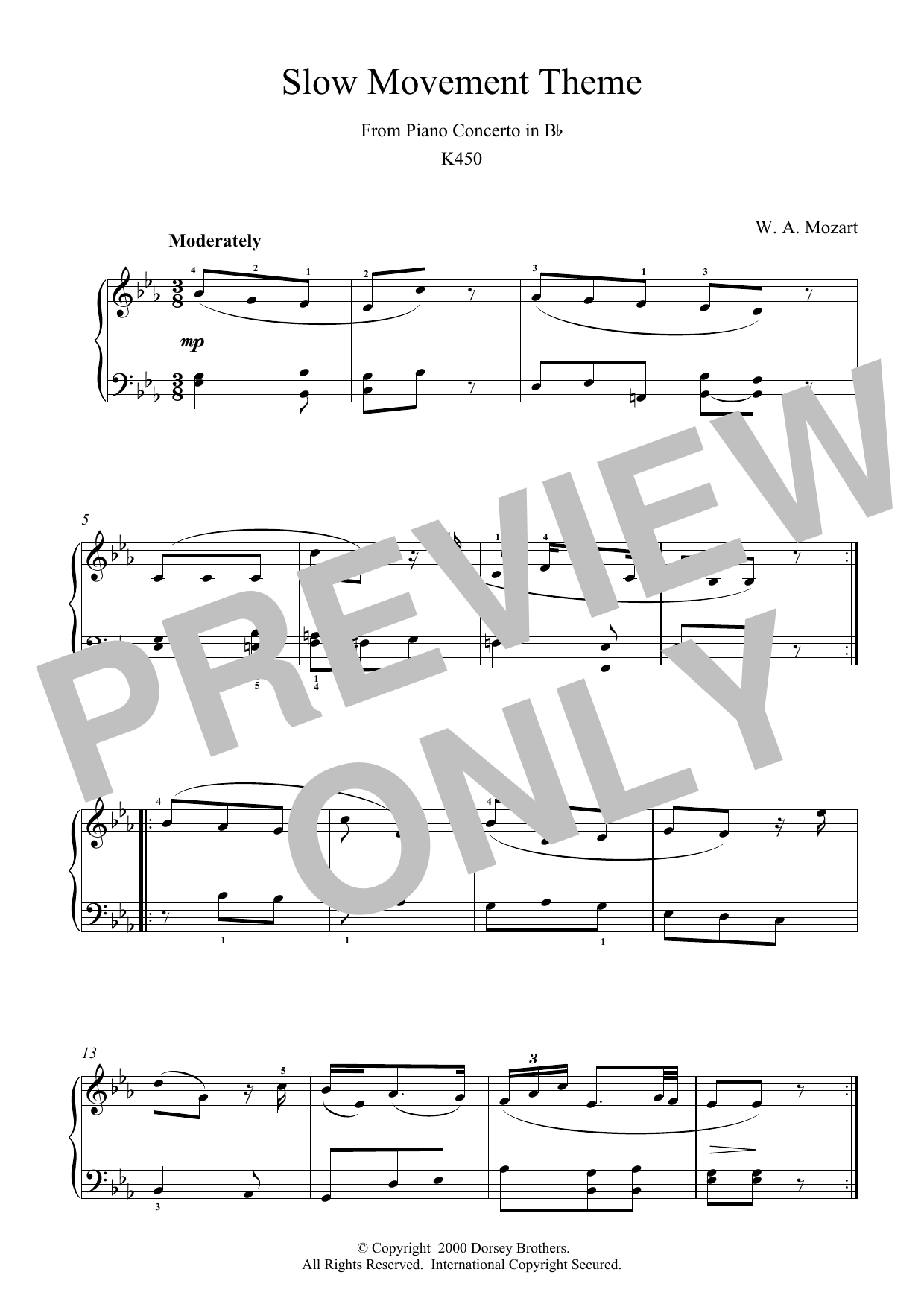 Slow Movement Theme from Piano Concerto in B Flat K450 Sheet Music